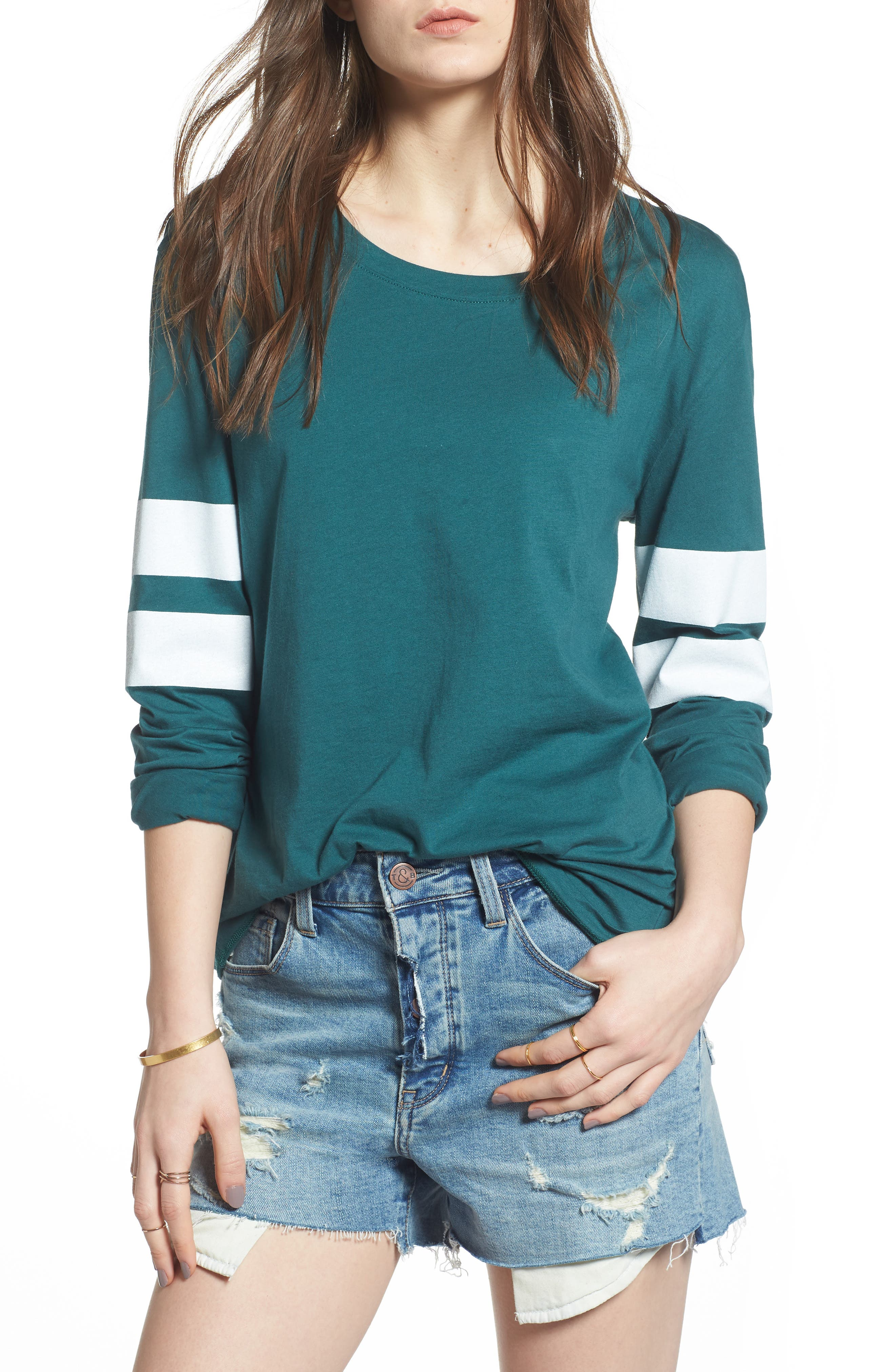 Varsity Stripe Cotton Tee,                             Main thumbnail 11, color,