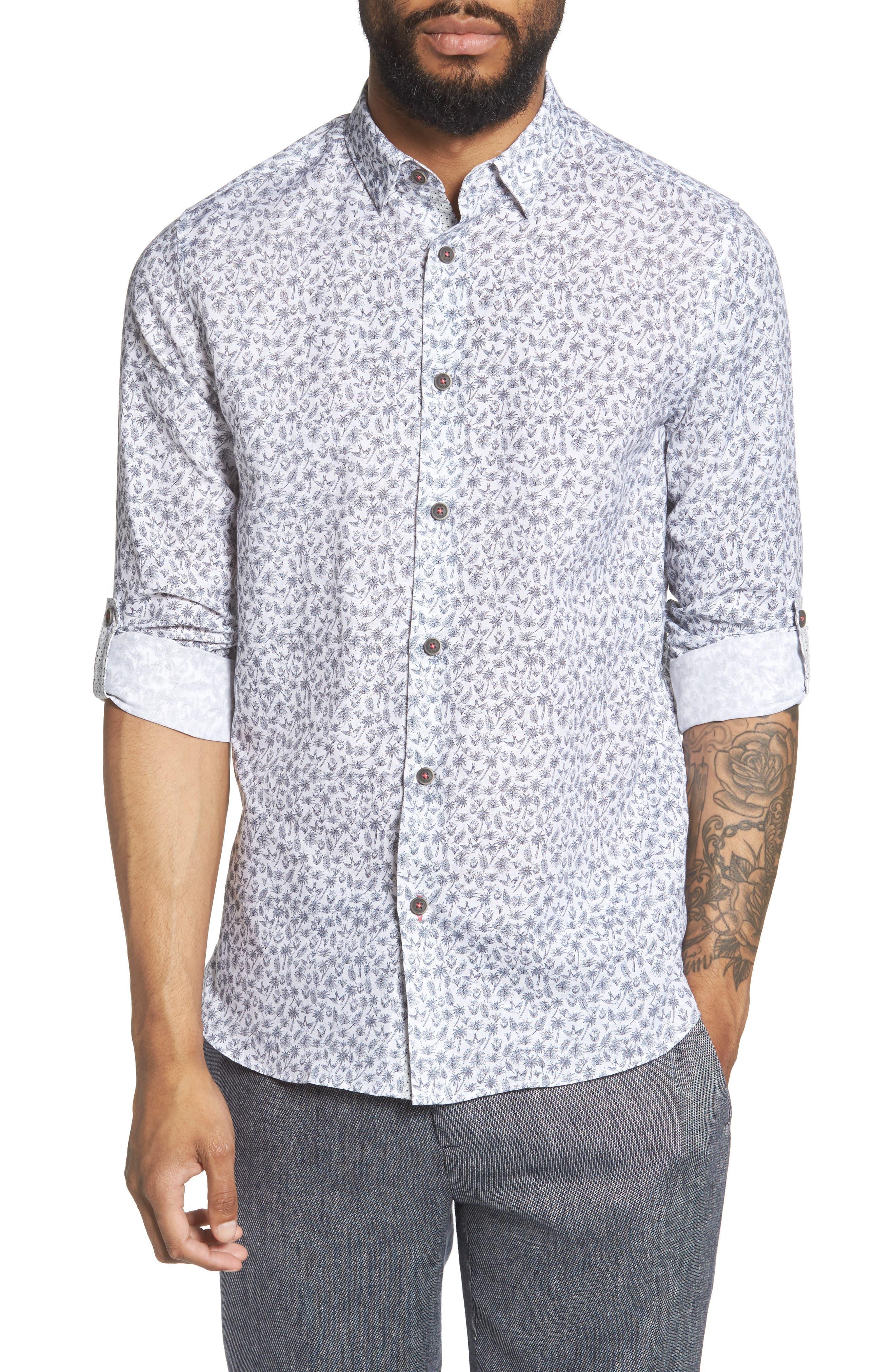 Nazta Trim Fit Tropical Print Sport Shirt,                             Main thumbnail 1, color,                             WHITE