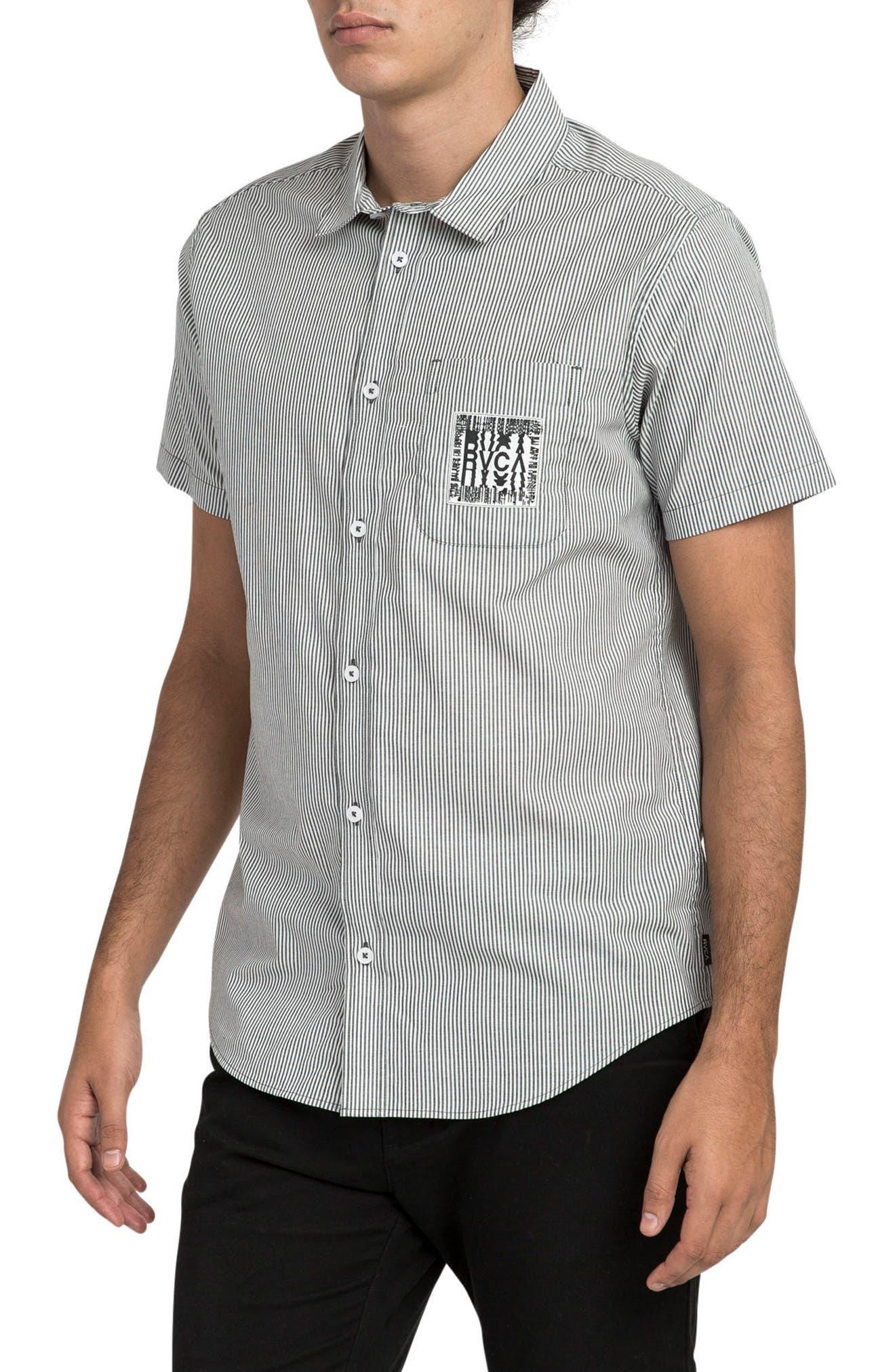 resort Disruption Woven Shirt,                             Alternate thumbnail 3, color,                             001