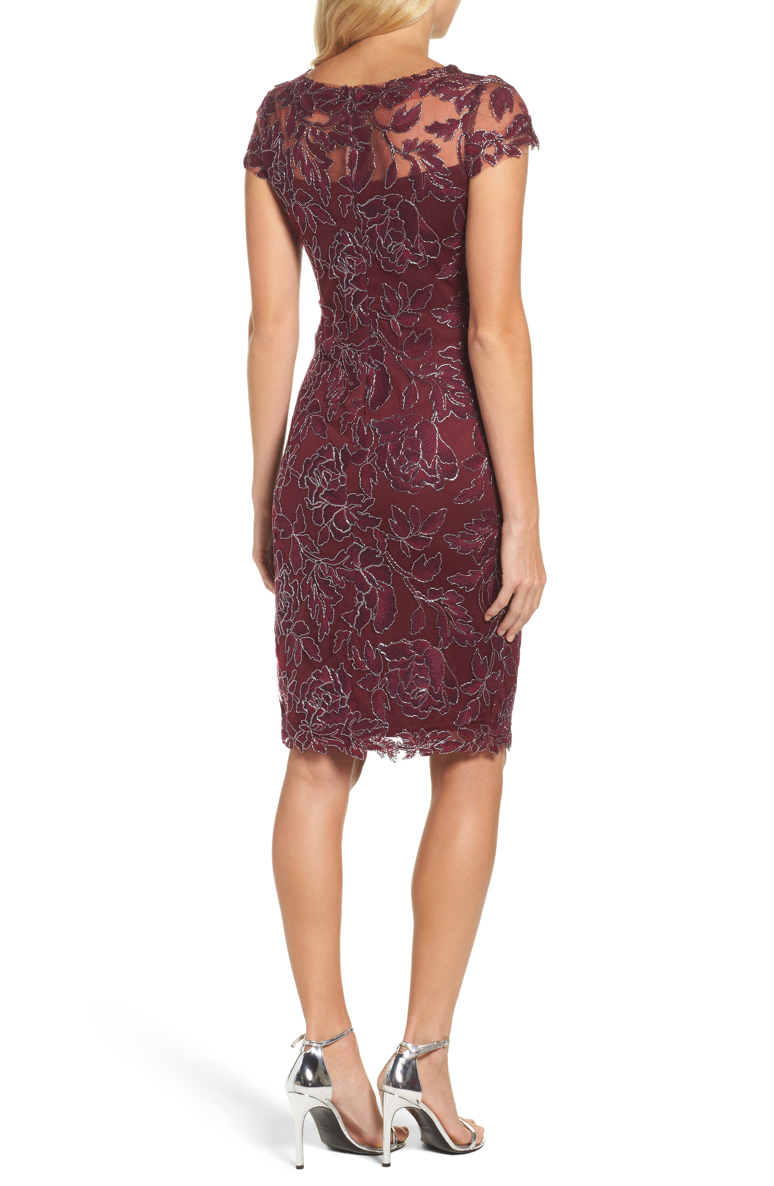 Embroidered Mesh Sheath Dress,                             Alternate thumbnail 6, color,