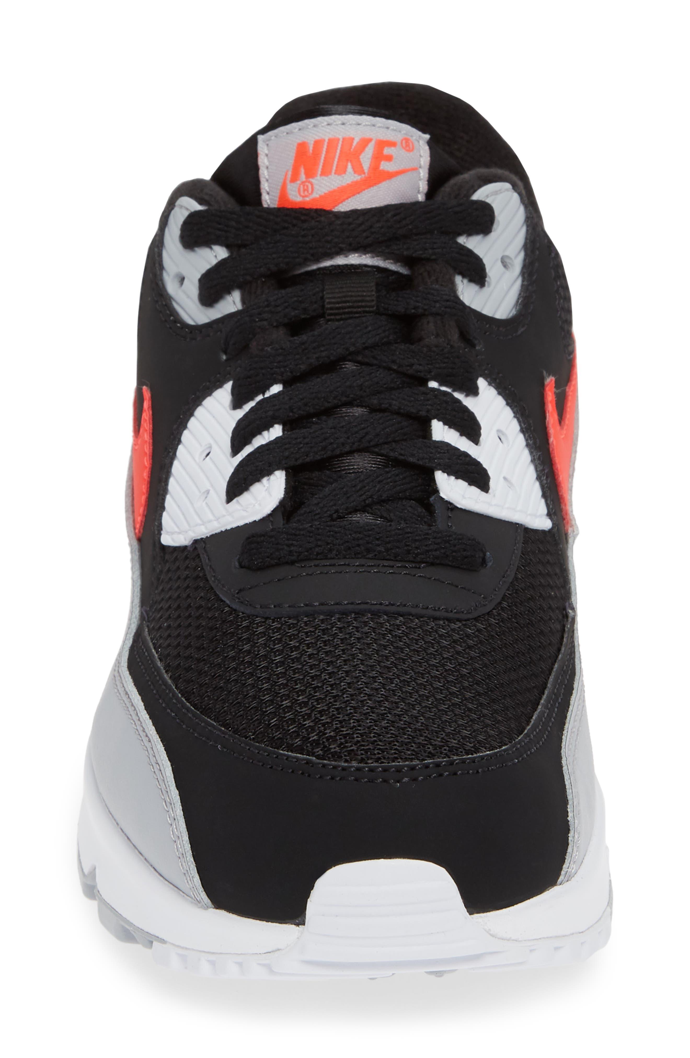 Air Max 90 Essential Sneaker,                             Alternate thumbnail 4, color,                             WOLF GREY/ CRIMSON/ BLACK
