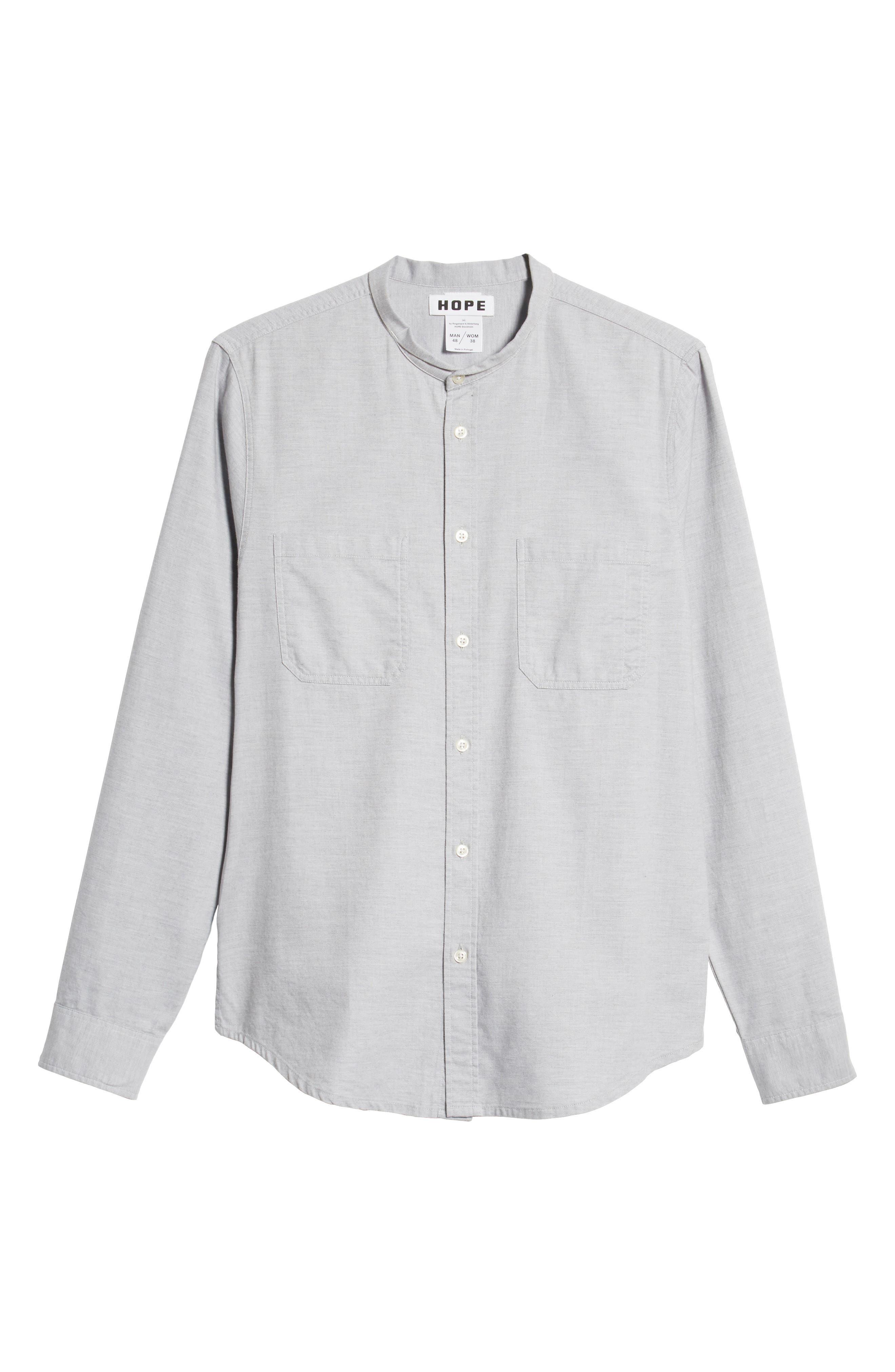 Rick Regular Fit Solid Sport Shirt,                             Alternate thumbnail 5, color,                             GREY MELANGE