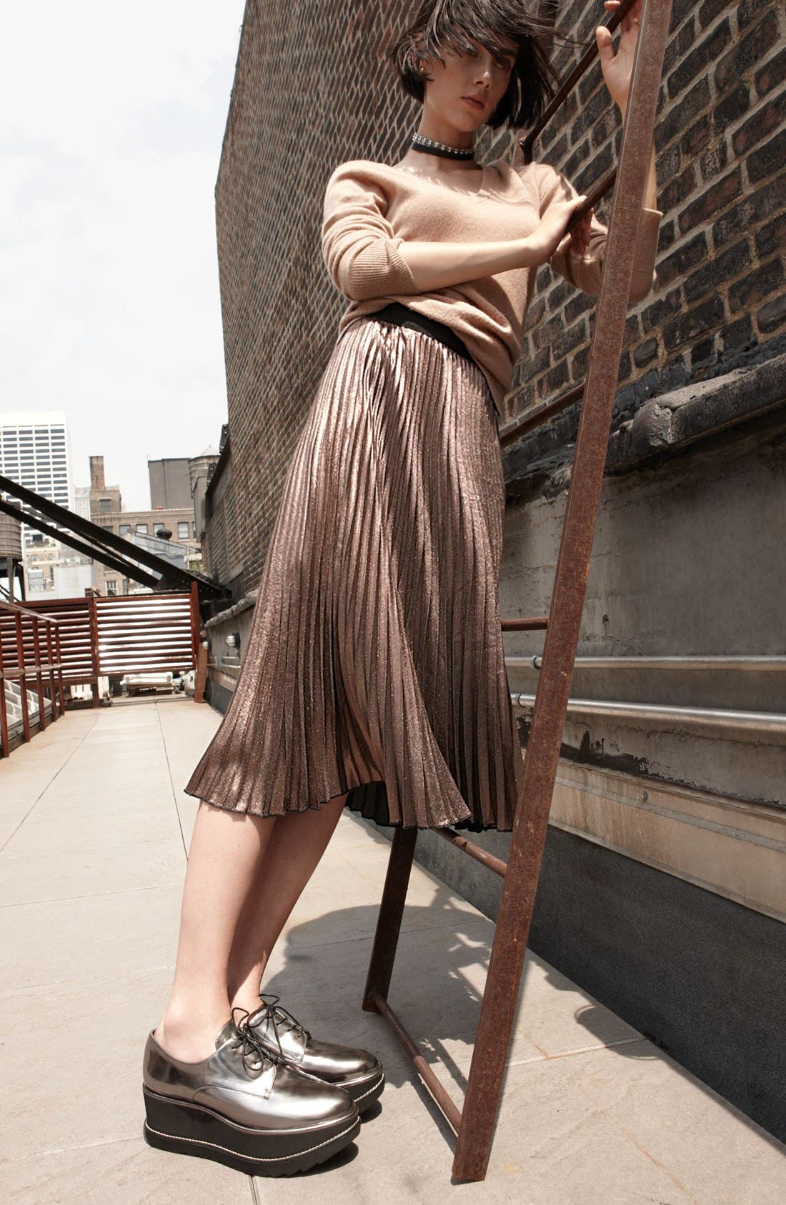 Metallic Pleated Midi Skirt,                             Alternate thumbnail 6, color,                             220