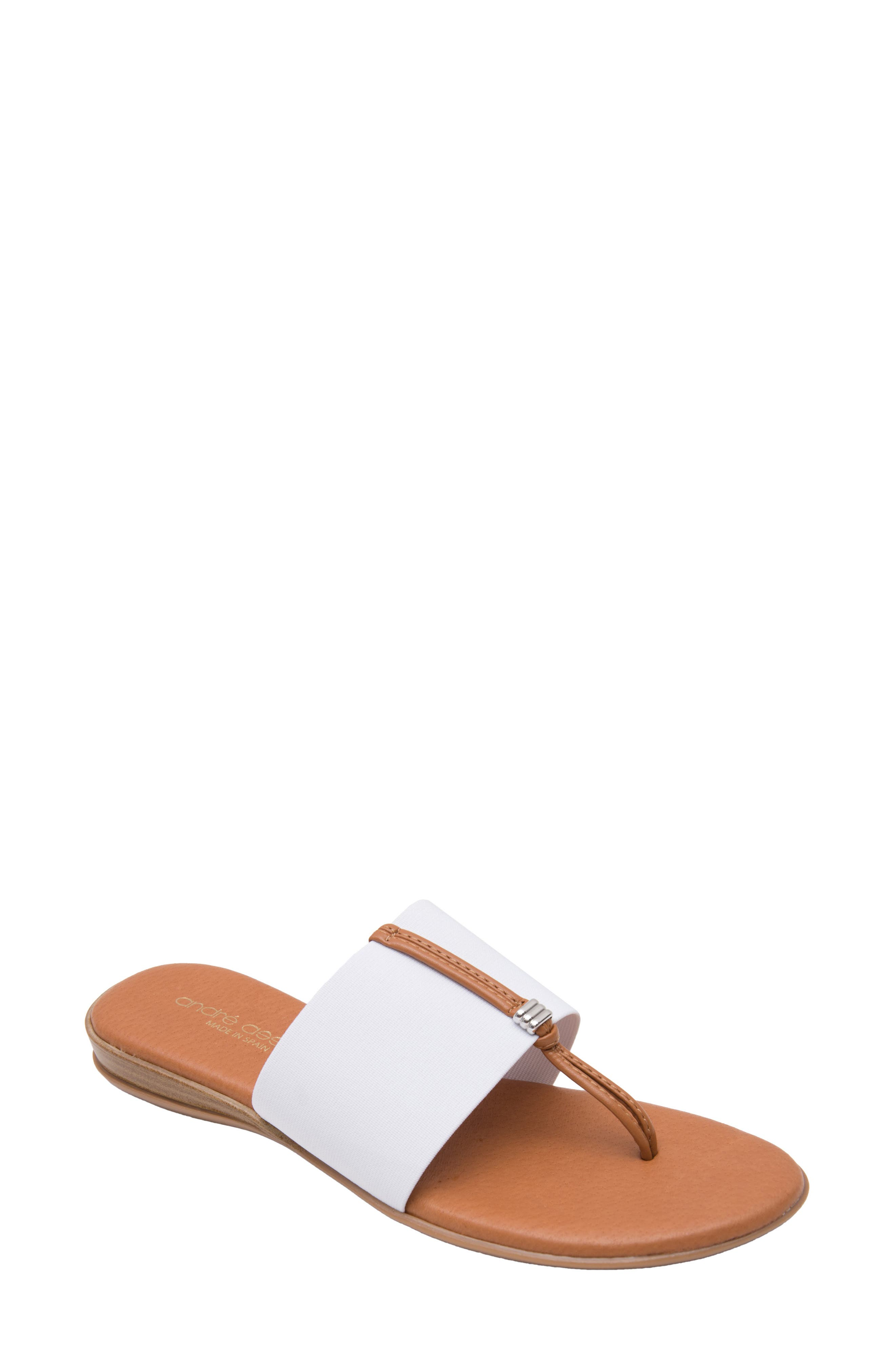 ANDRE ASSOUS Nice Sandal in White Fabric
