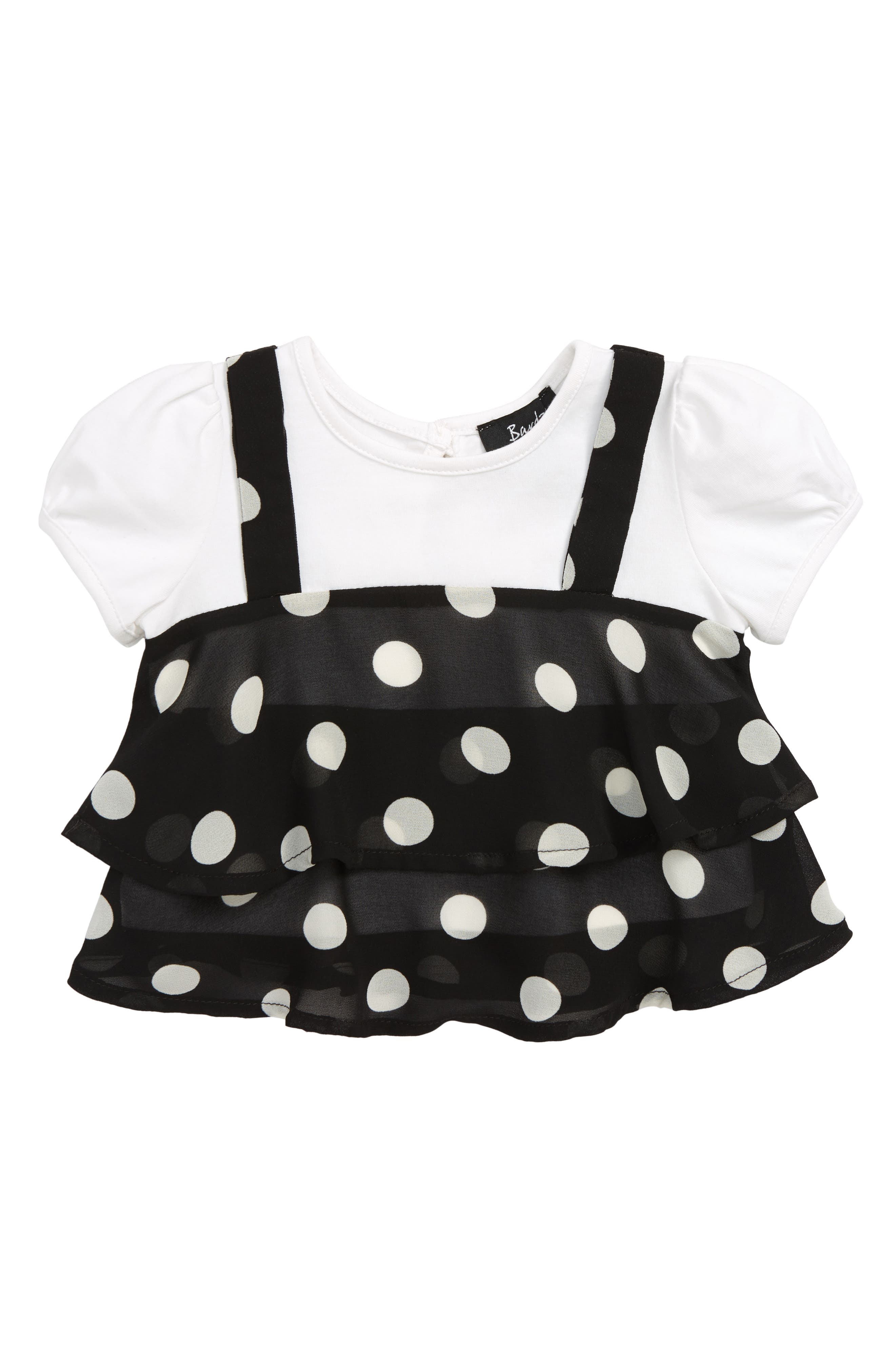 BARDOT JUNIOR Kiera Spot Top, Main, color, 001