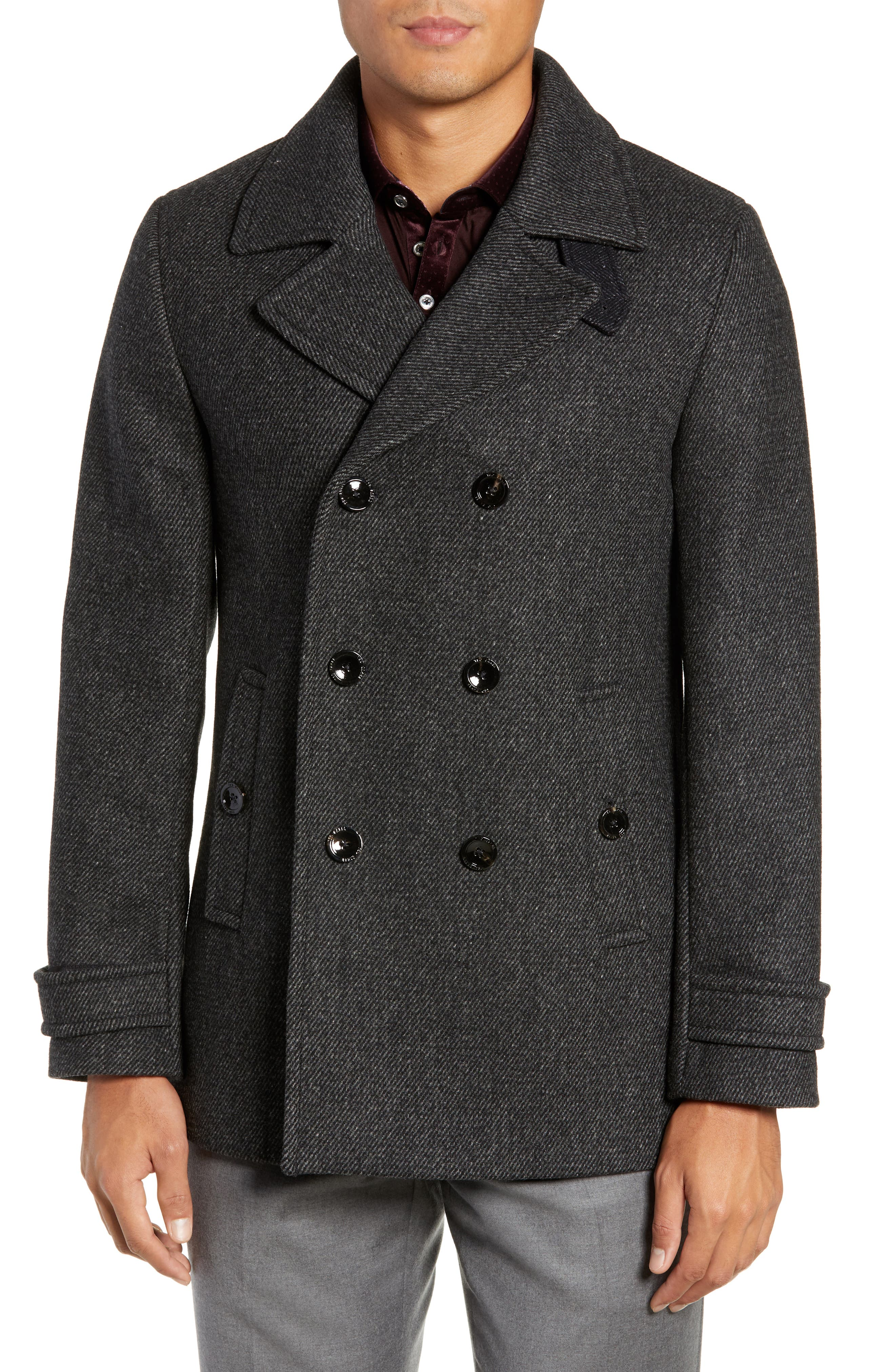 Grilled Wool Blend Peacoat,                             Alternate thumbnail 4, color,                             GREY