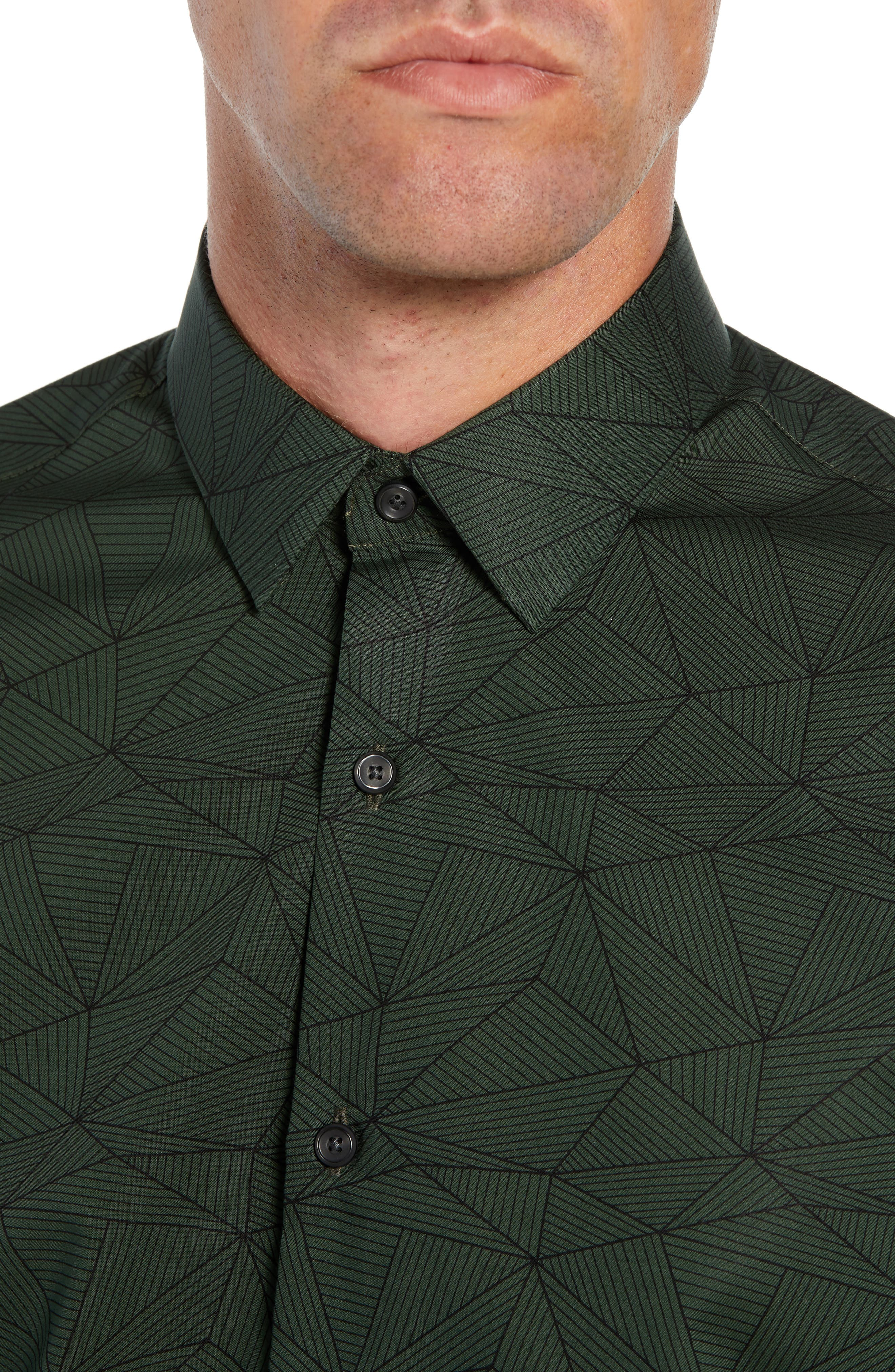 Non-Iron Geo Print Sport Shirt,                             Alternate thumbnail 2, color,                             GREEN FOREST LINEAR