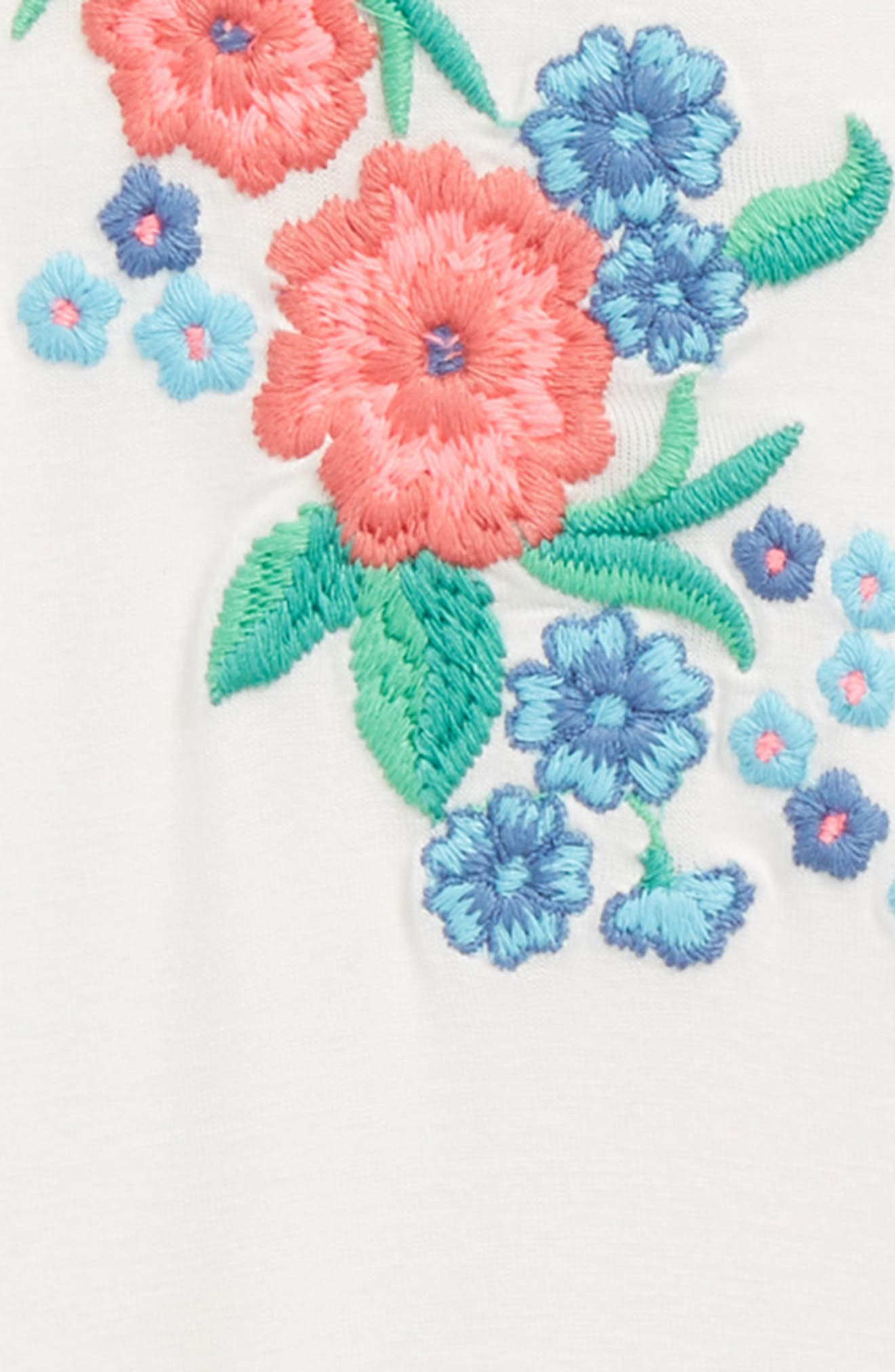 Floral Embroidered Flutter Sleeve Tee,                             Alternate thumbnail 2, color,                             900