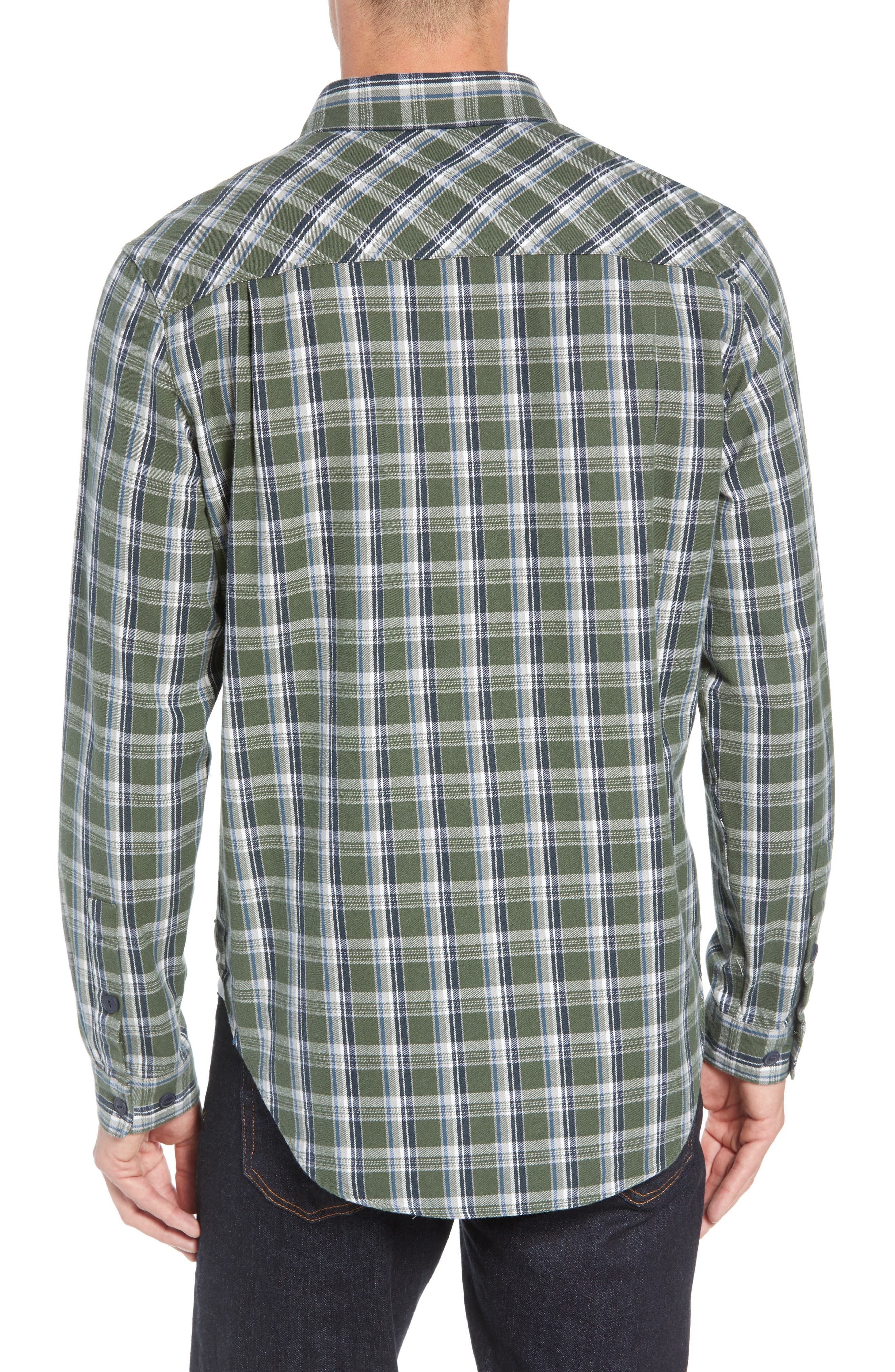 Anders Flannel Sport Shirt,                             Alternate thumbnail 3, color,                             ARMY GREEN PLAID