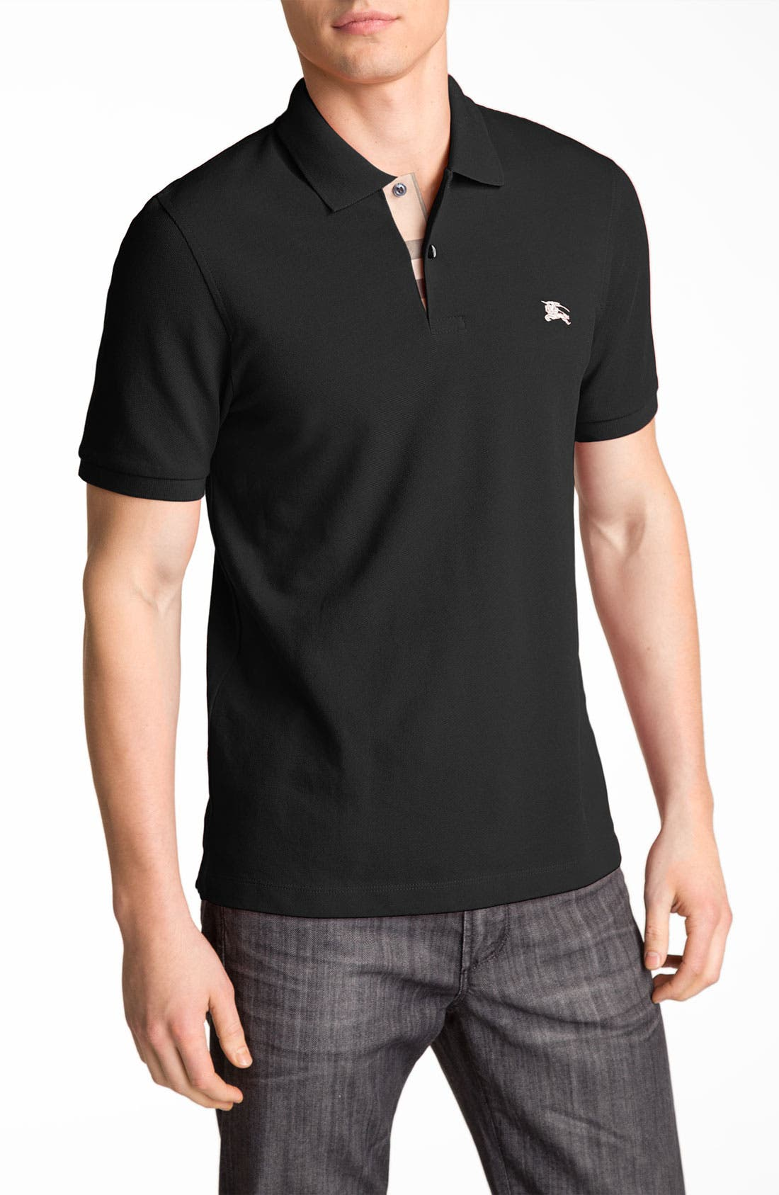 BURBERRY,                             Brit Modern Fit Piqué Polo,                             Main thumbnail 1, color,                             001
