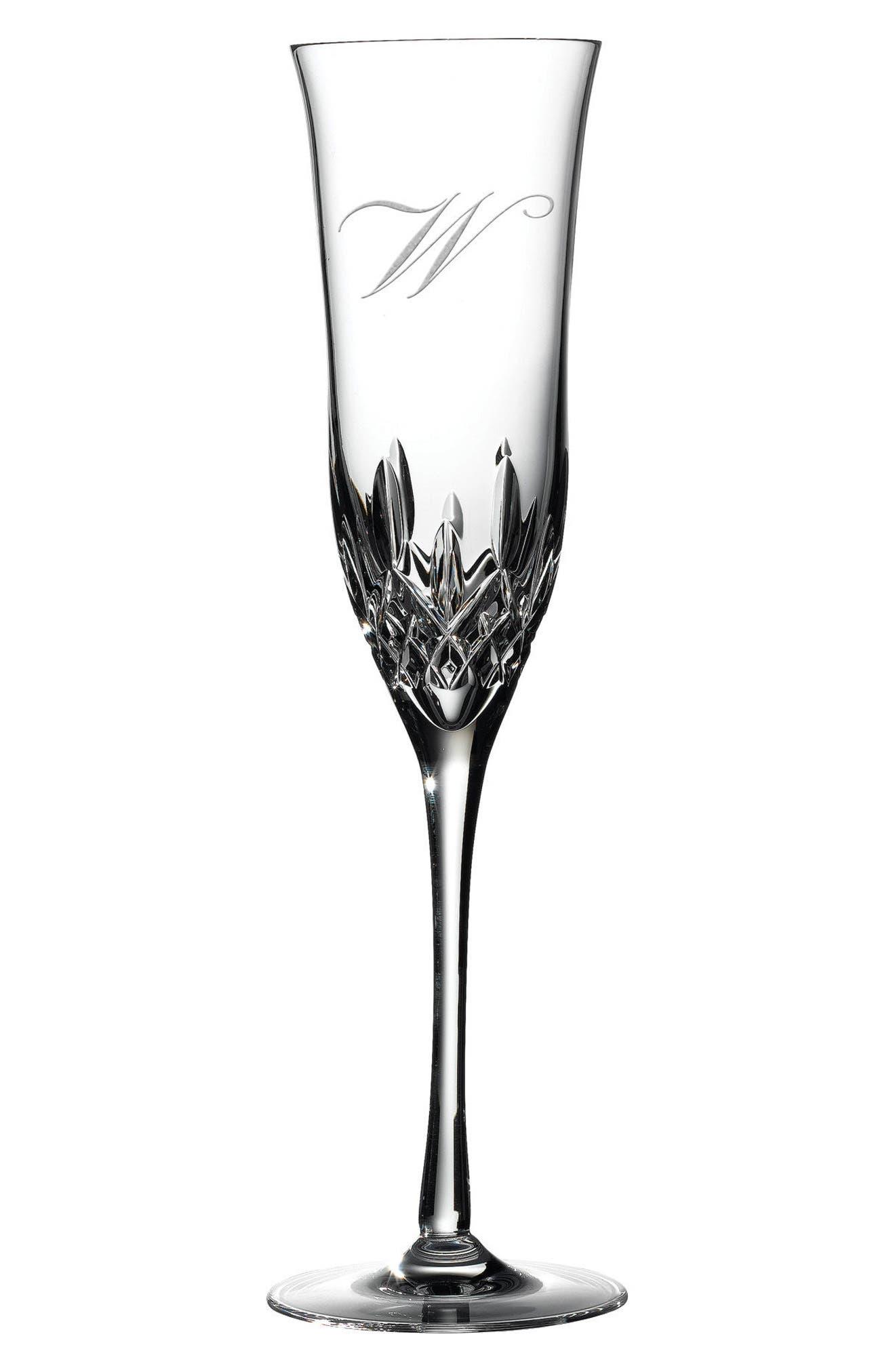 Lismore Essence Set of 2 Monogram Lead Crystal Champagne Flutes,                             Main thumbnail 6, color,