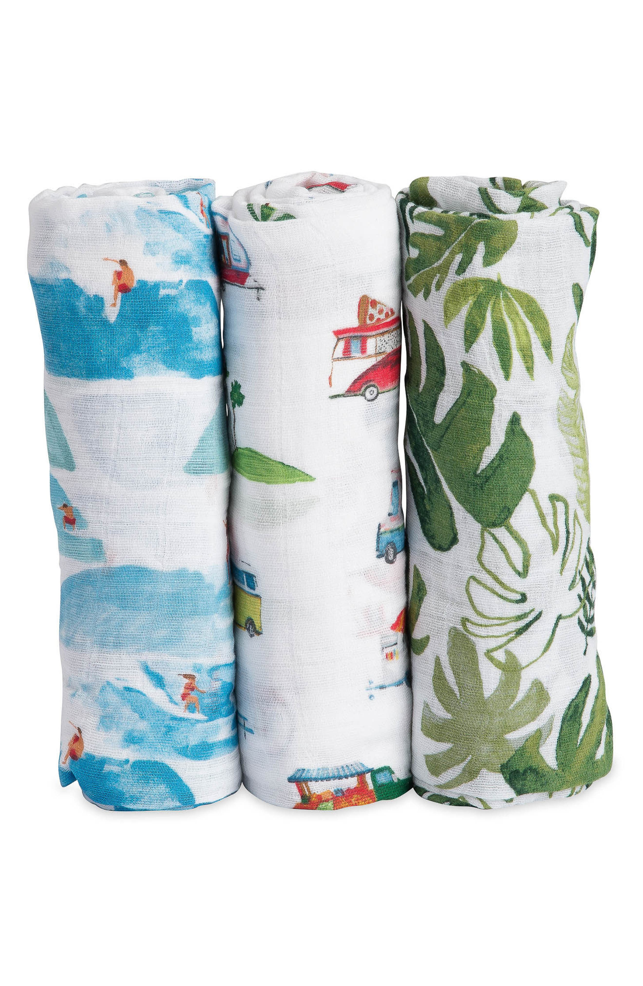 3-Pack Cotton Muslin Blankets,                             Alternate thumbnail 3, color,                             SUMMER VIBE