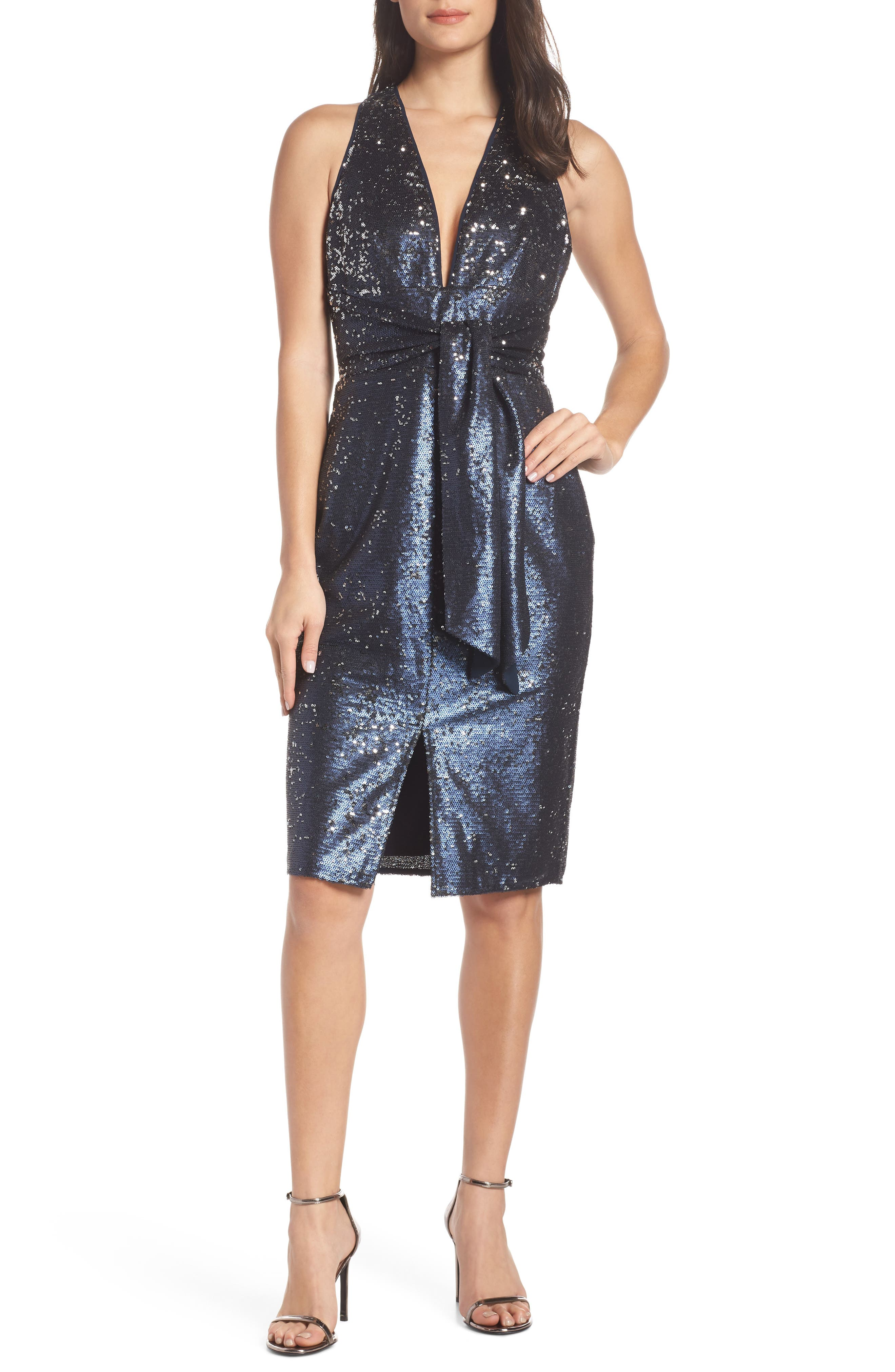 HARLYN Plunge Neck Sequin Dress in Navy