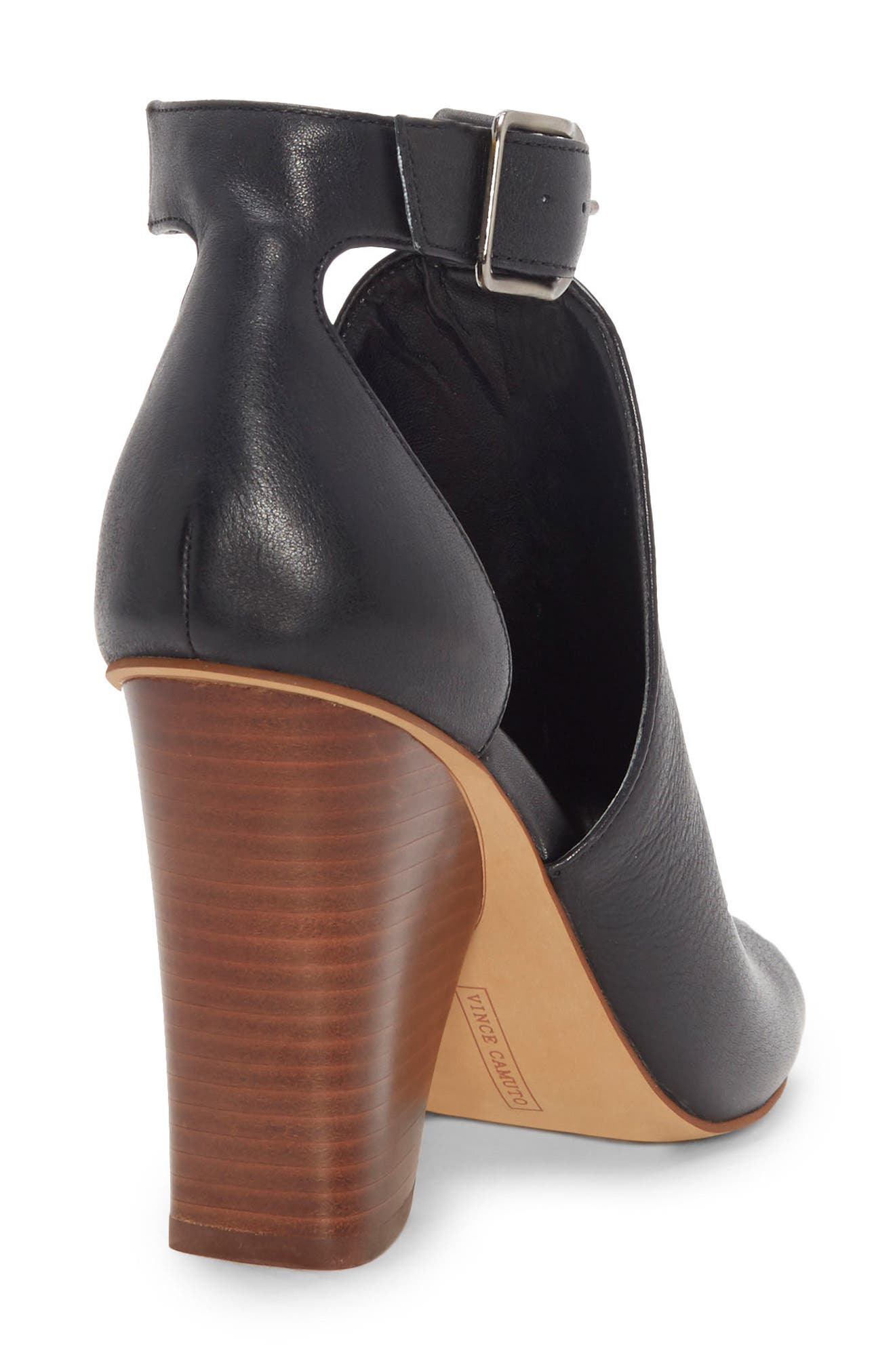 Adaren Peep Toe Sandal,                             Alternate thumbnail 8, color,                             BLACK LEATHER