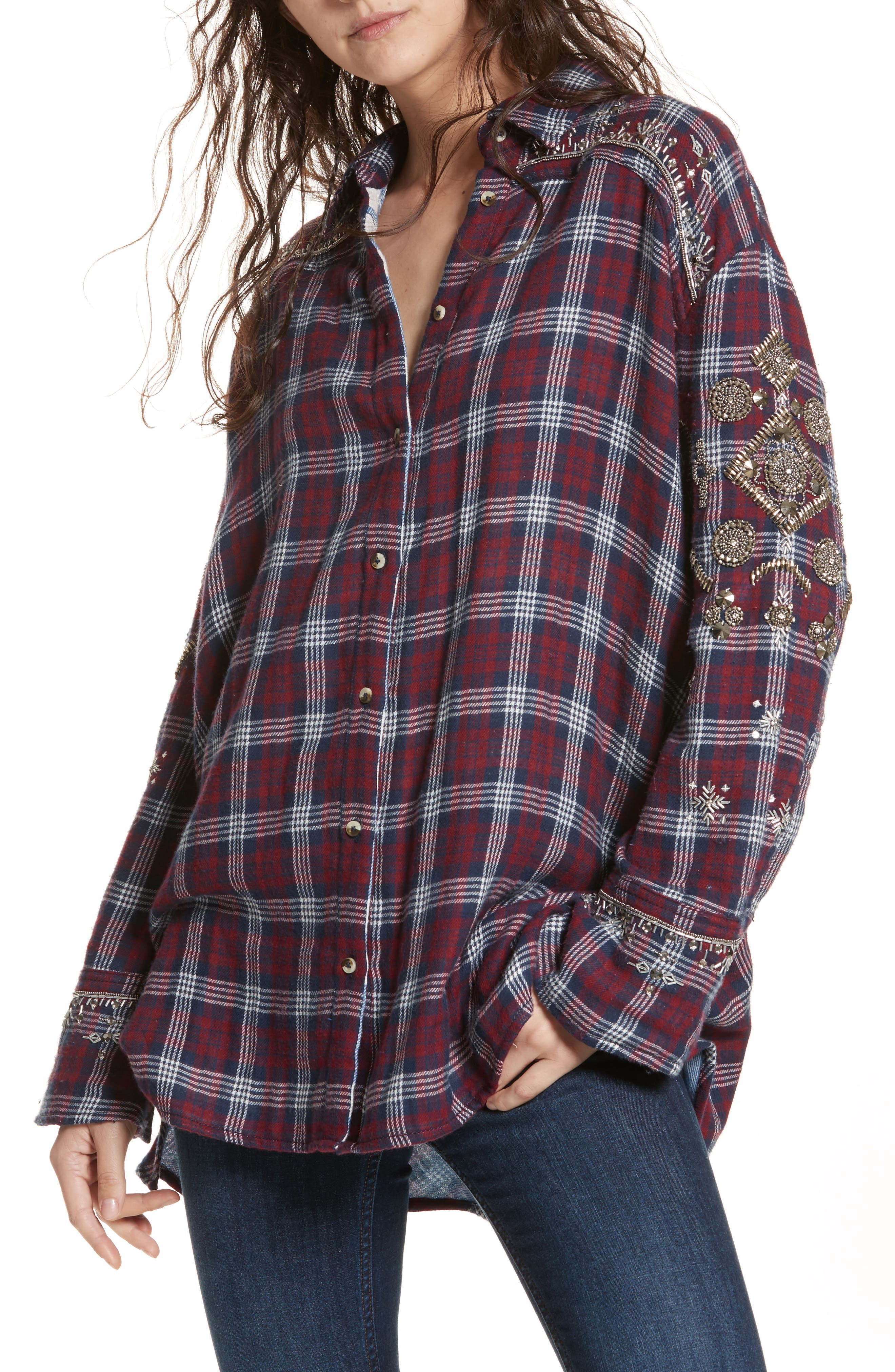 Downtown Romance Embellished Shirt,                         Main,                         color, 600