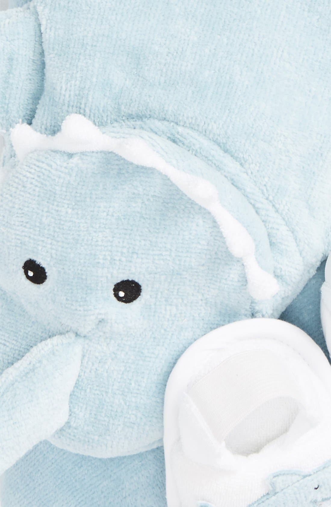 'Let the Fin Begin' Hooded Terry Robe, Bath Mitt & Slippers Set,                             Alternate thumbnail 3, color,                             LIGHT BLUE