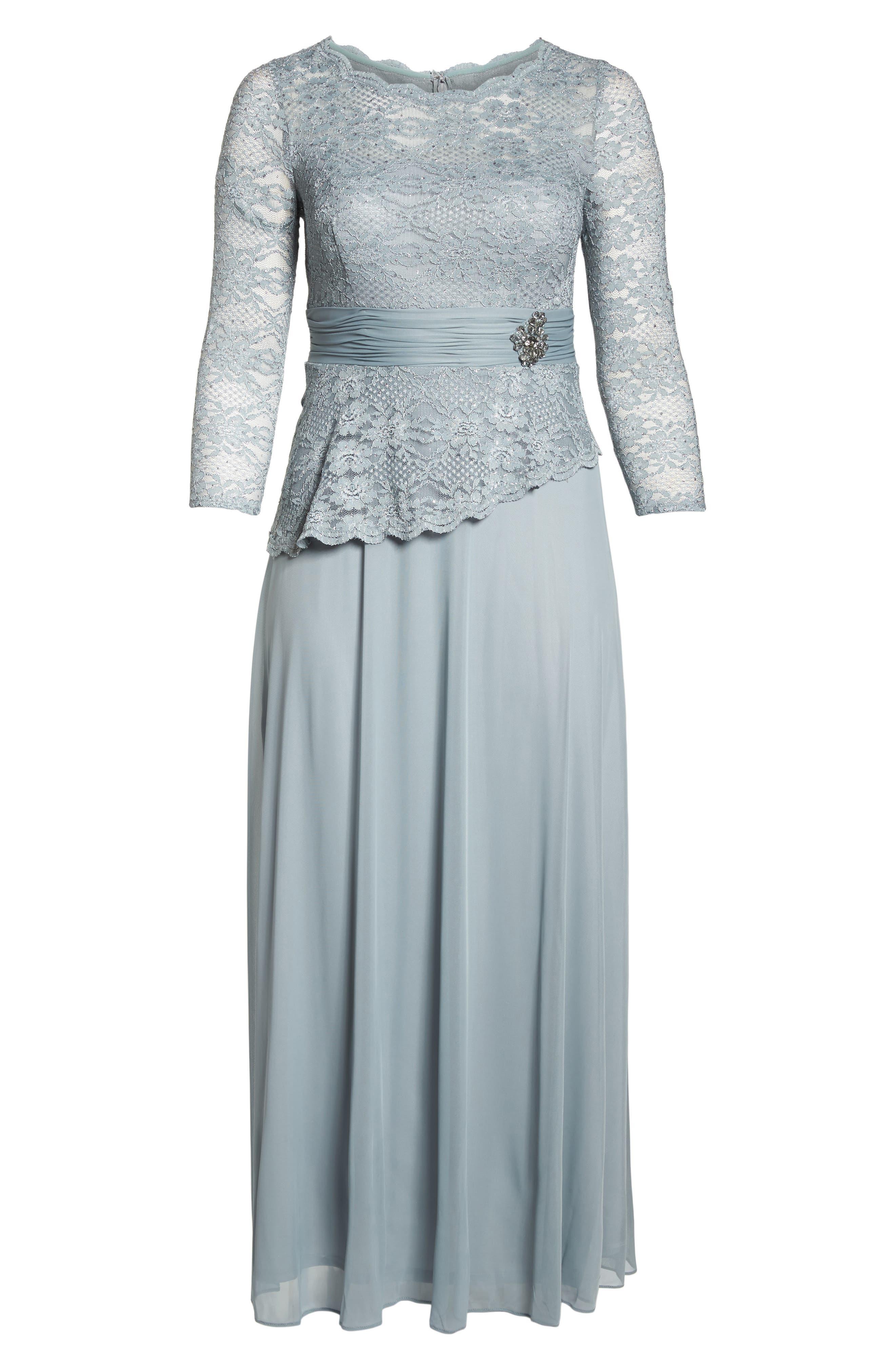 Asymmetrical Lace Bodice Gown,                             Alternate thumbnail 6, color,                             SAGE