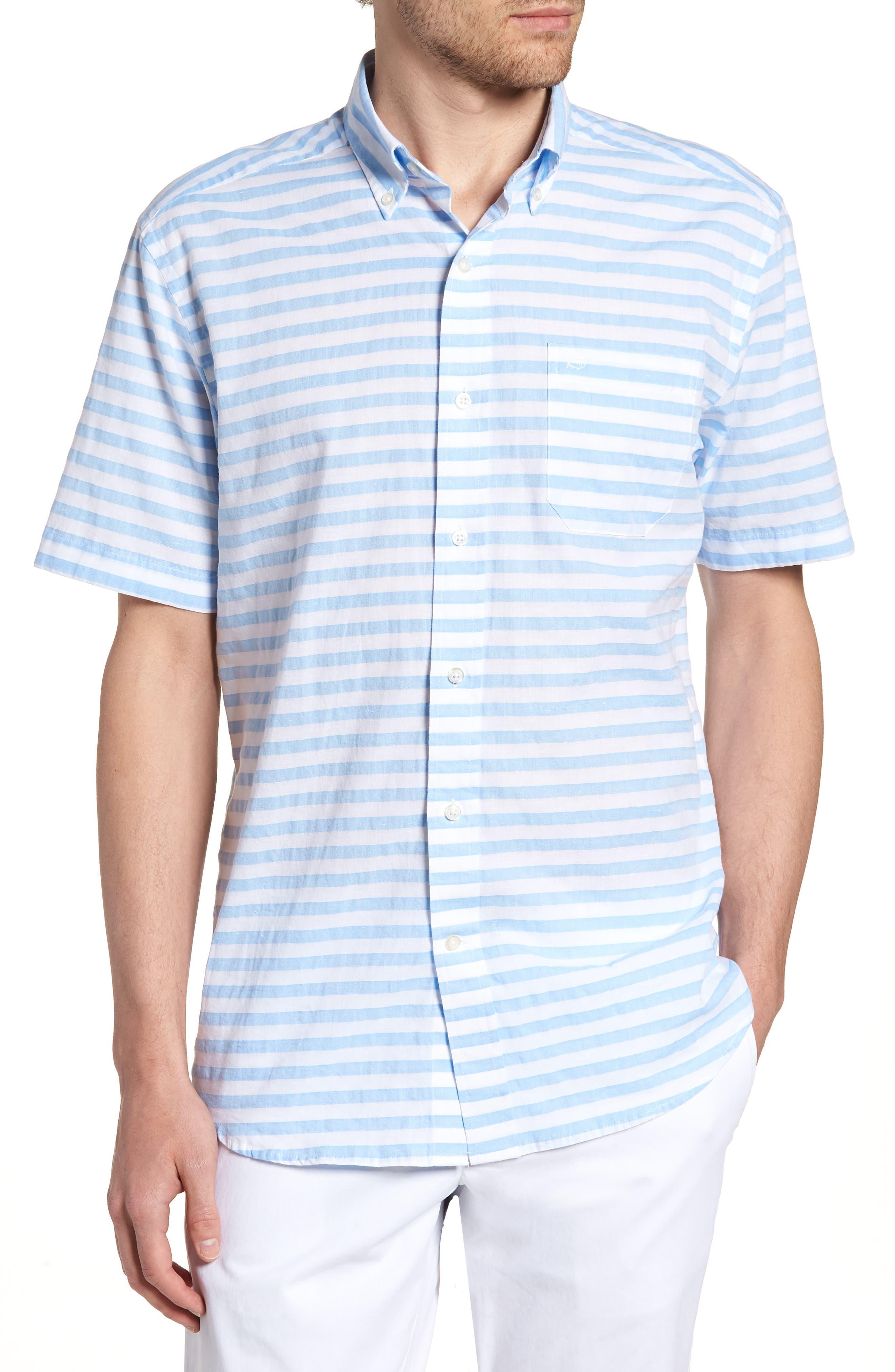 Toe Side Stripe Short Sleeve Sport Shirt,                             Main thumbnail 1, color,