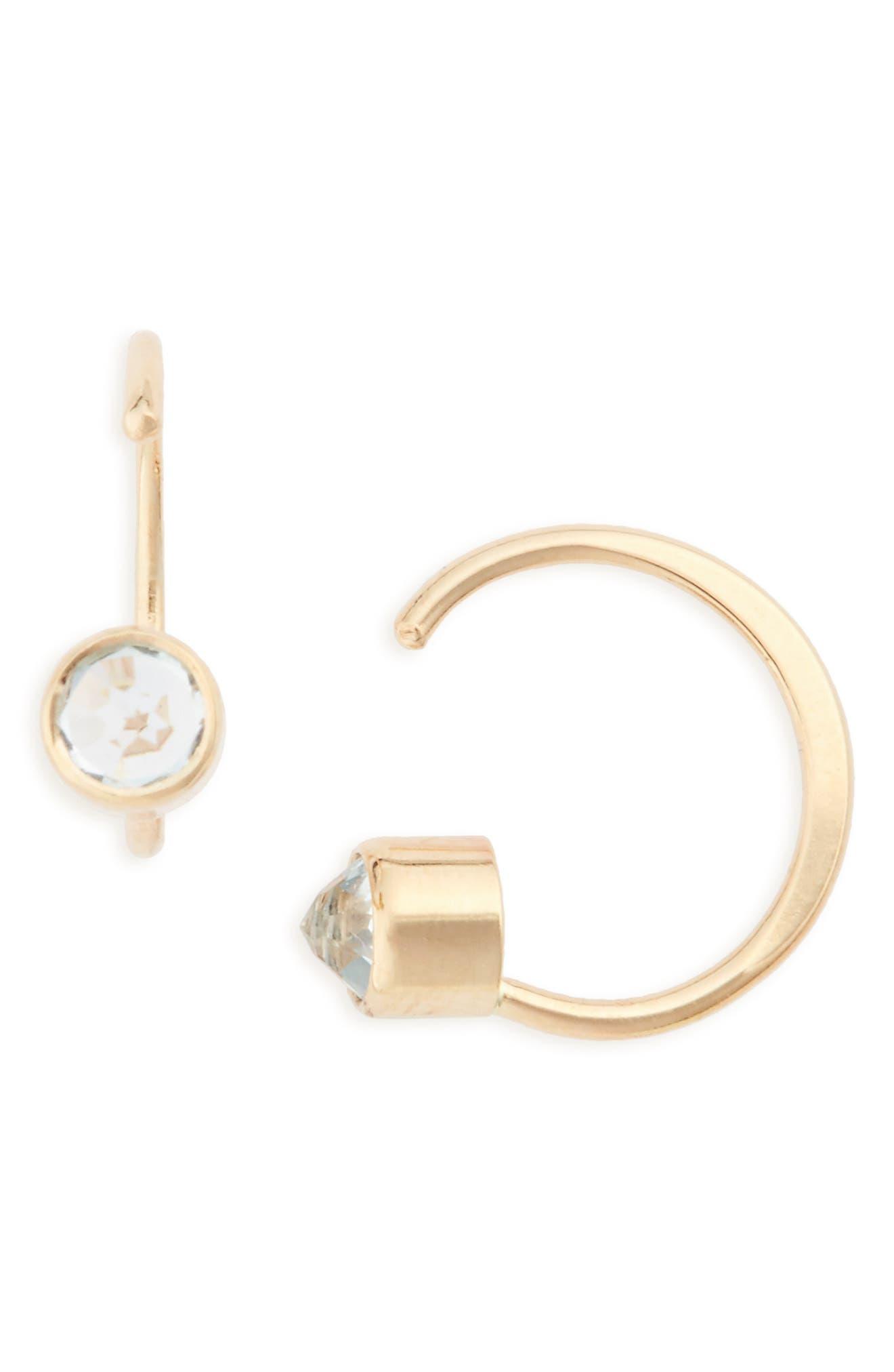 Topaz Hug Hoop Earrings,                         Main,                         color, 710