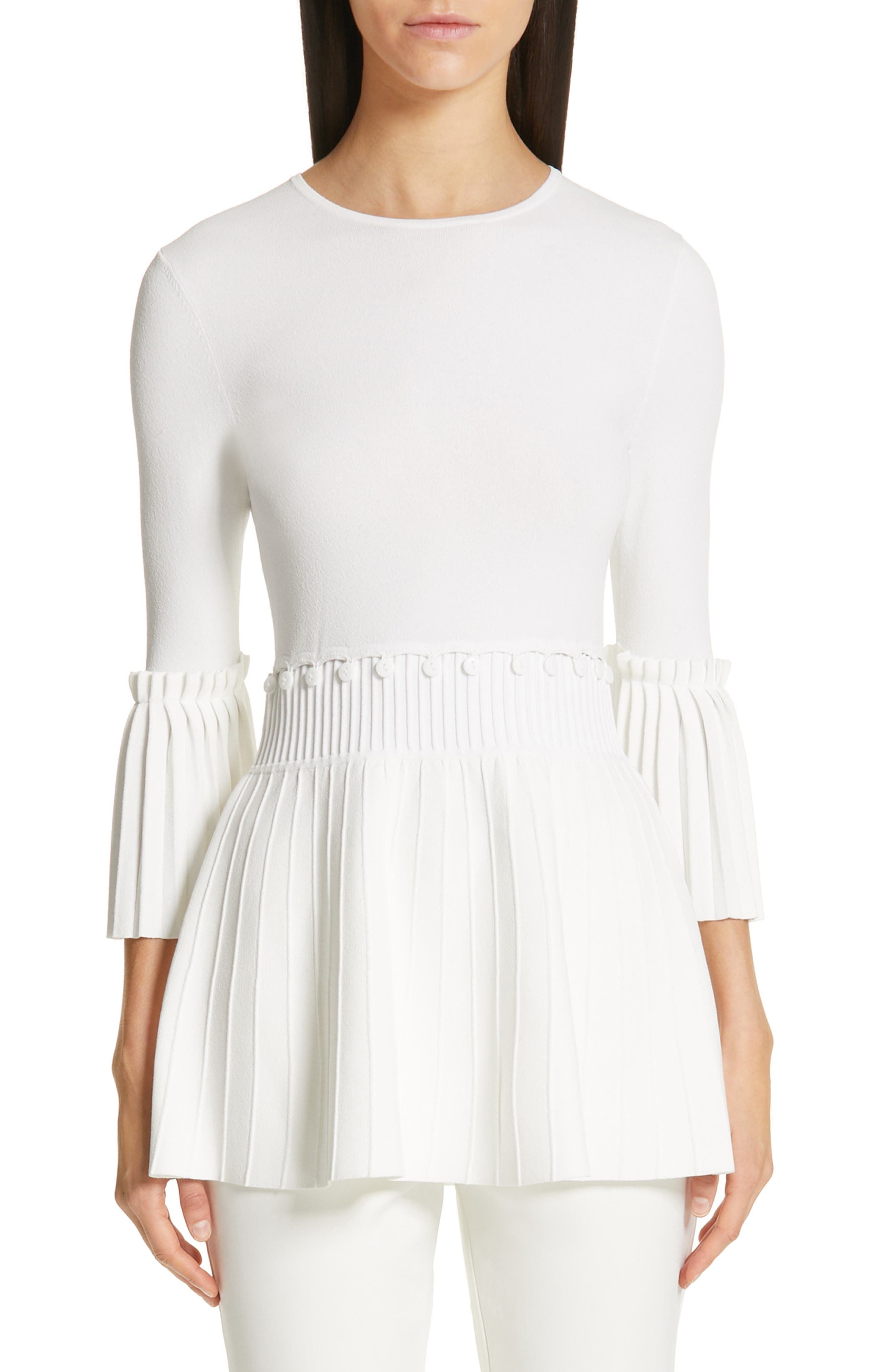 LELA ROSE,                             Pleated Knit Top,                             Main thumbnail 1, color,                             WHITE