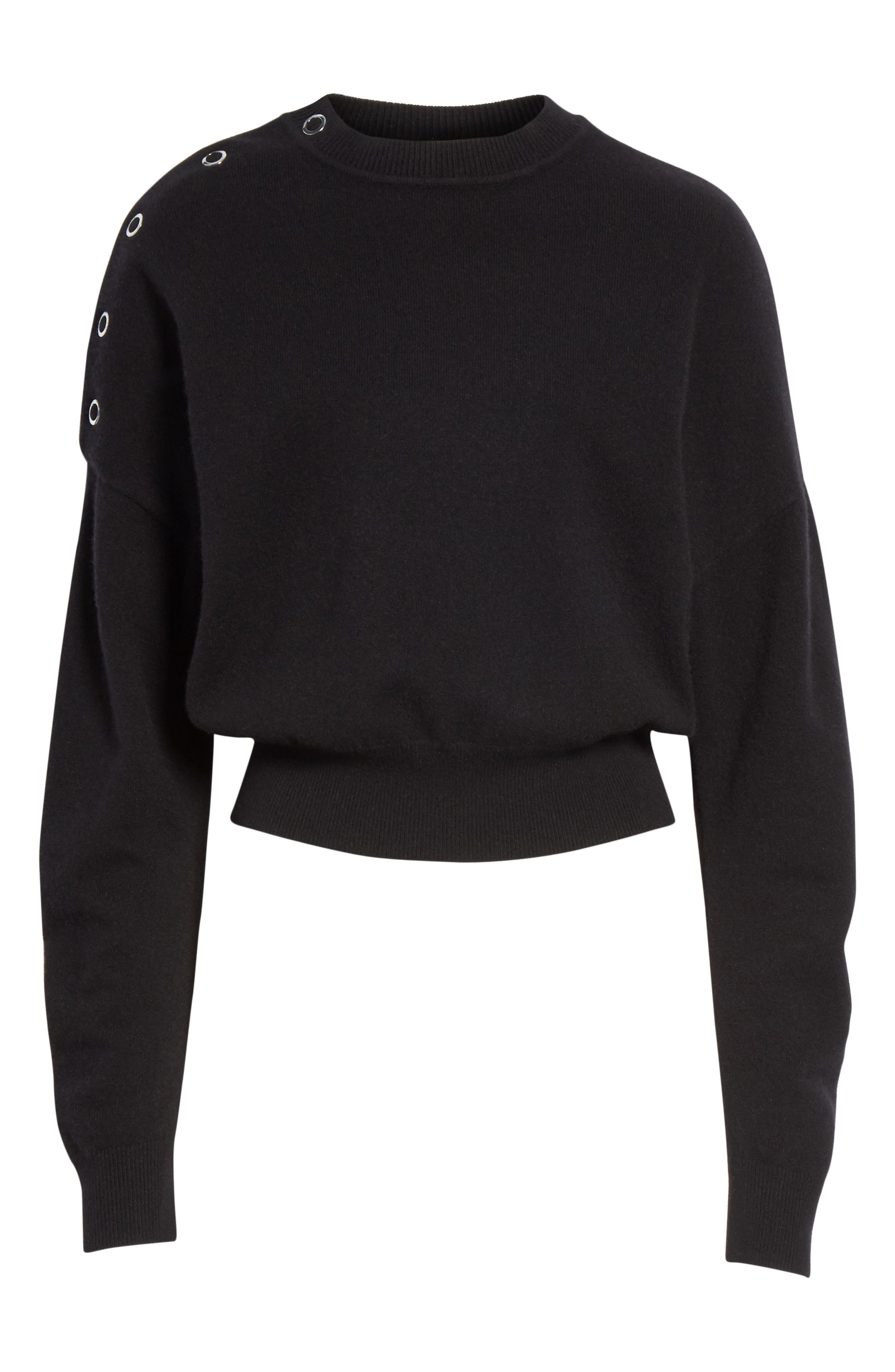 Snap Detail Cashmere Blend Sweater,                             Alternate thumbnail 6, color,                             BLACK
