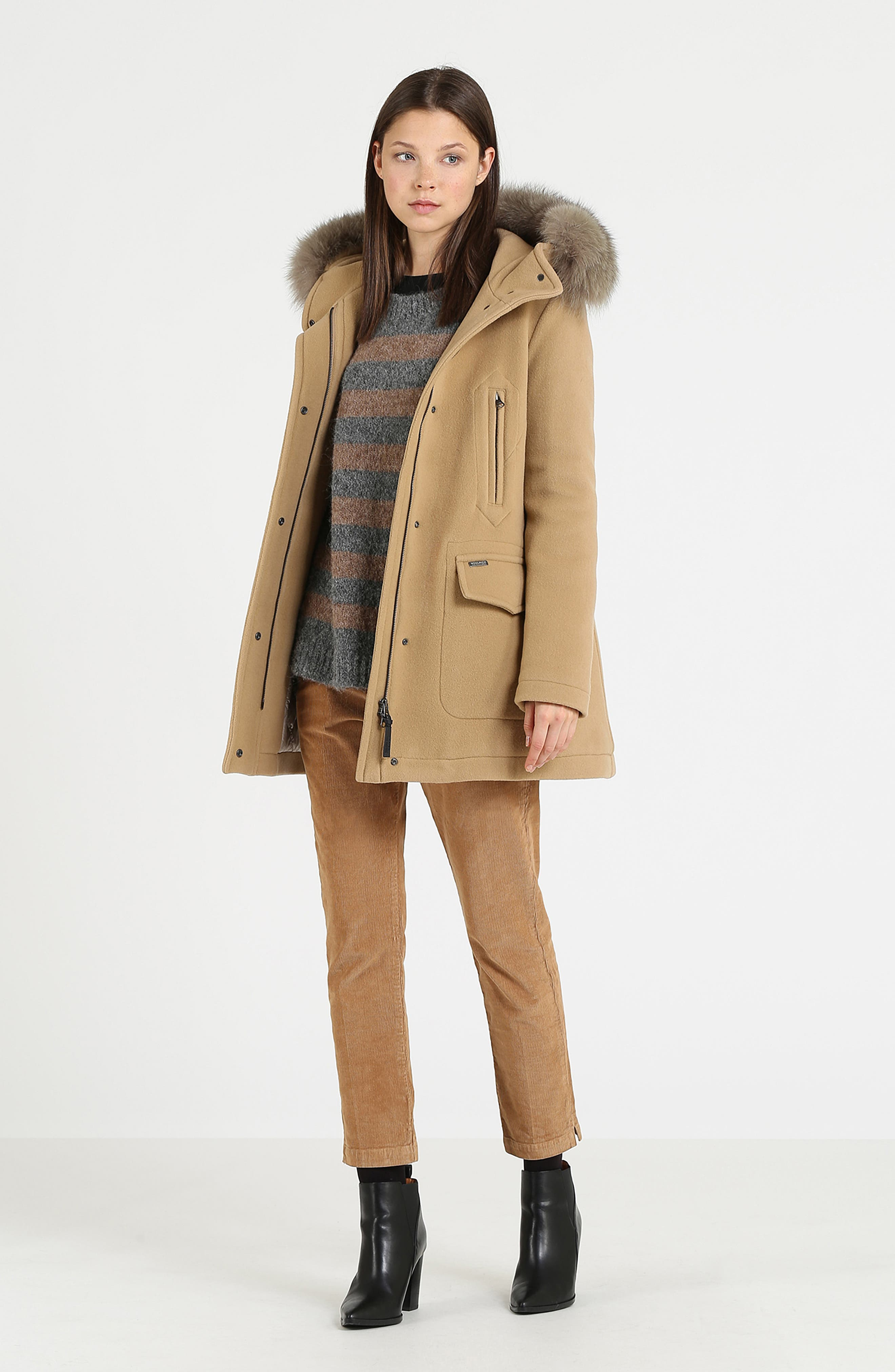 McKenzie Coat with Genuine Fox Fur Trim,                             Alternate thumbnail 5, color,                             CAMEL