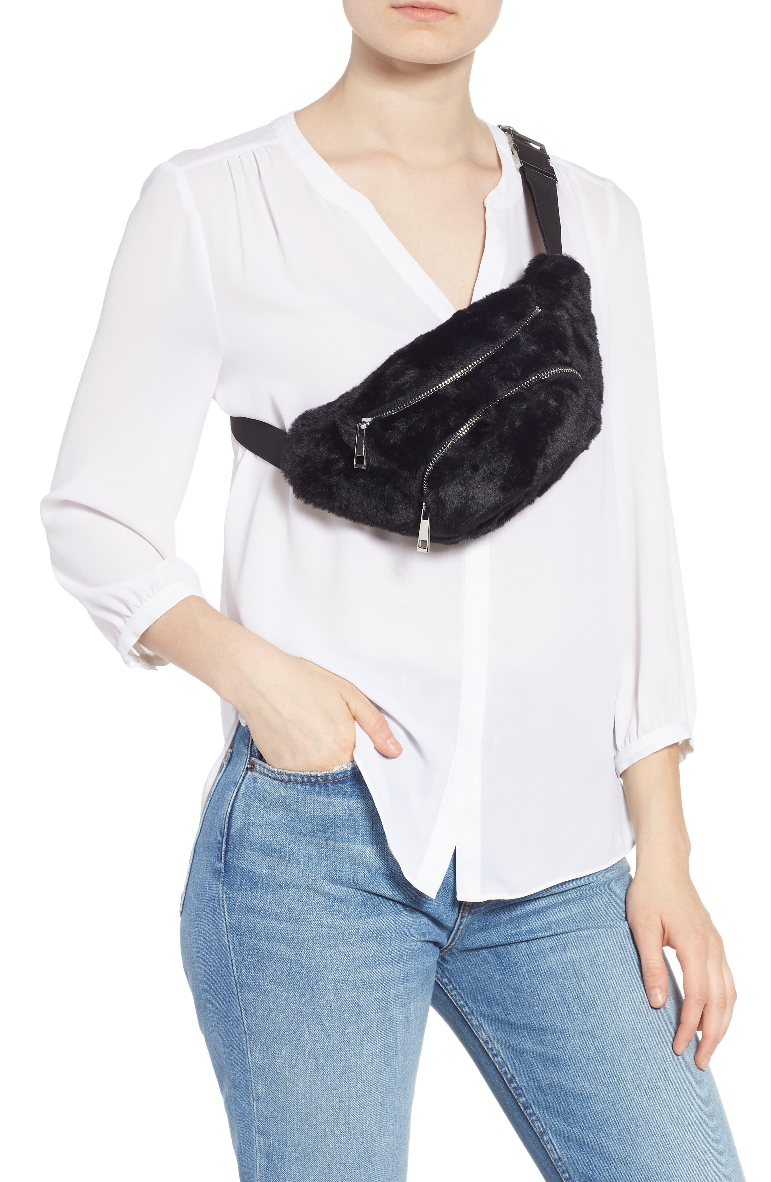 Jaida Faux Fur Belt Bag,                             Alternate thumbnail 3, color,                             BLACK