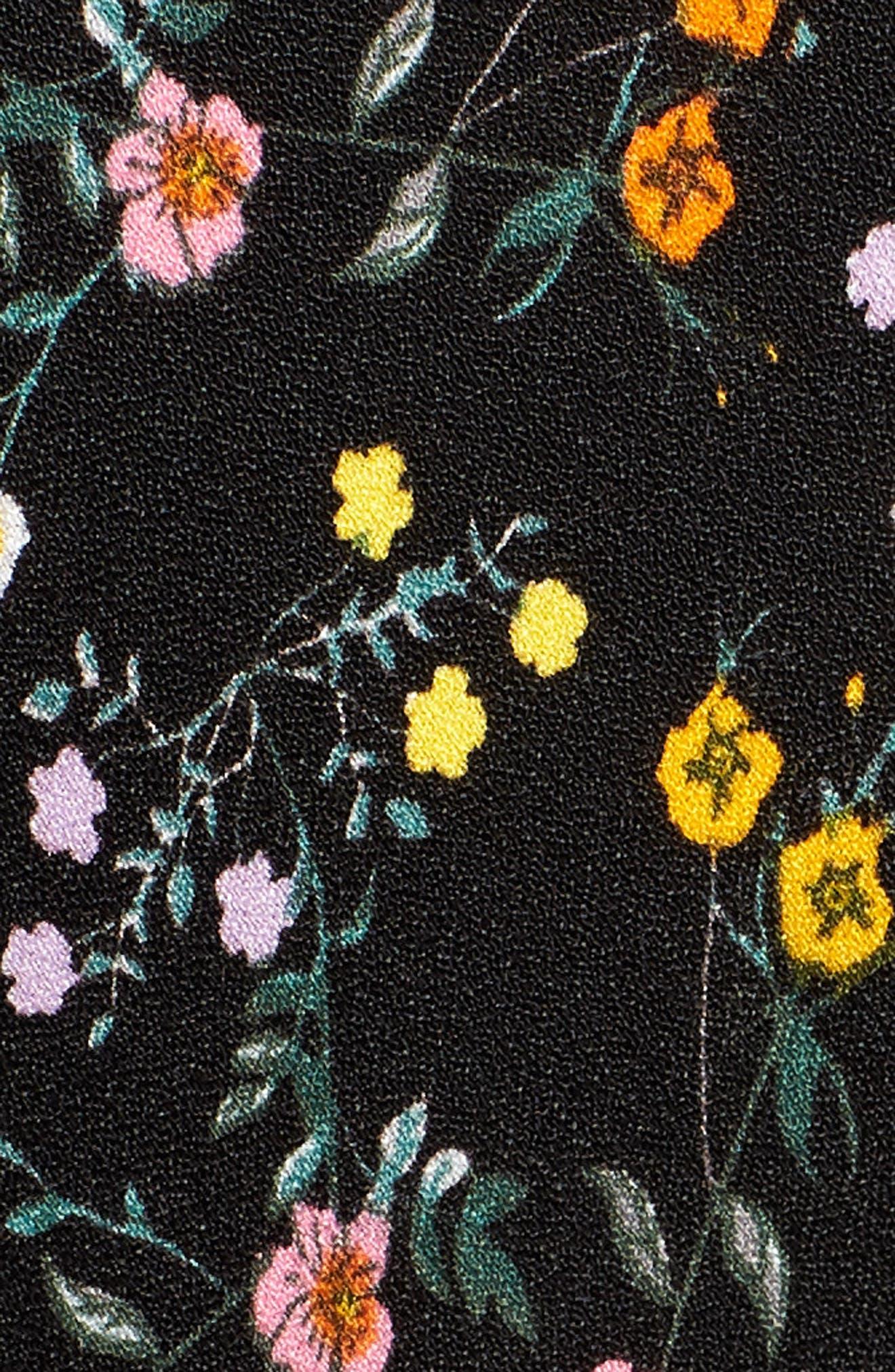 Rowland Midi Dress,                             Alternate thumbnail 6, color,                             NOIR PETITE FLEUR
