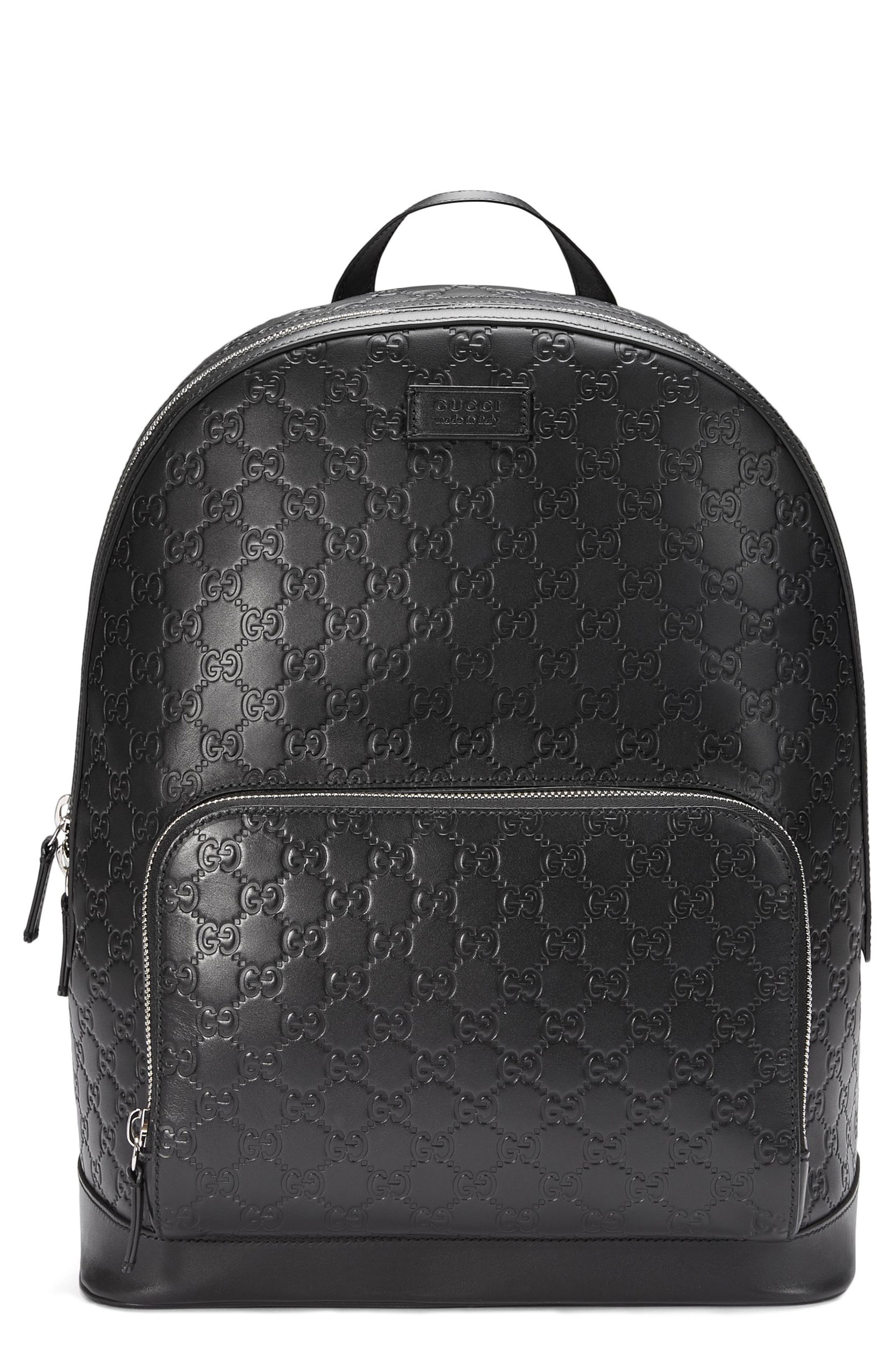 Embossed Leather Backpack,                         Main,                         color, 001
