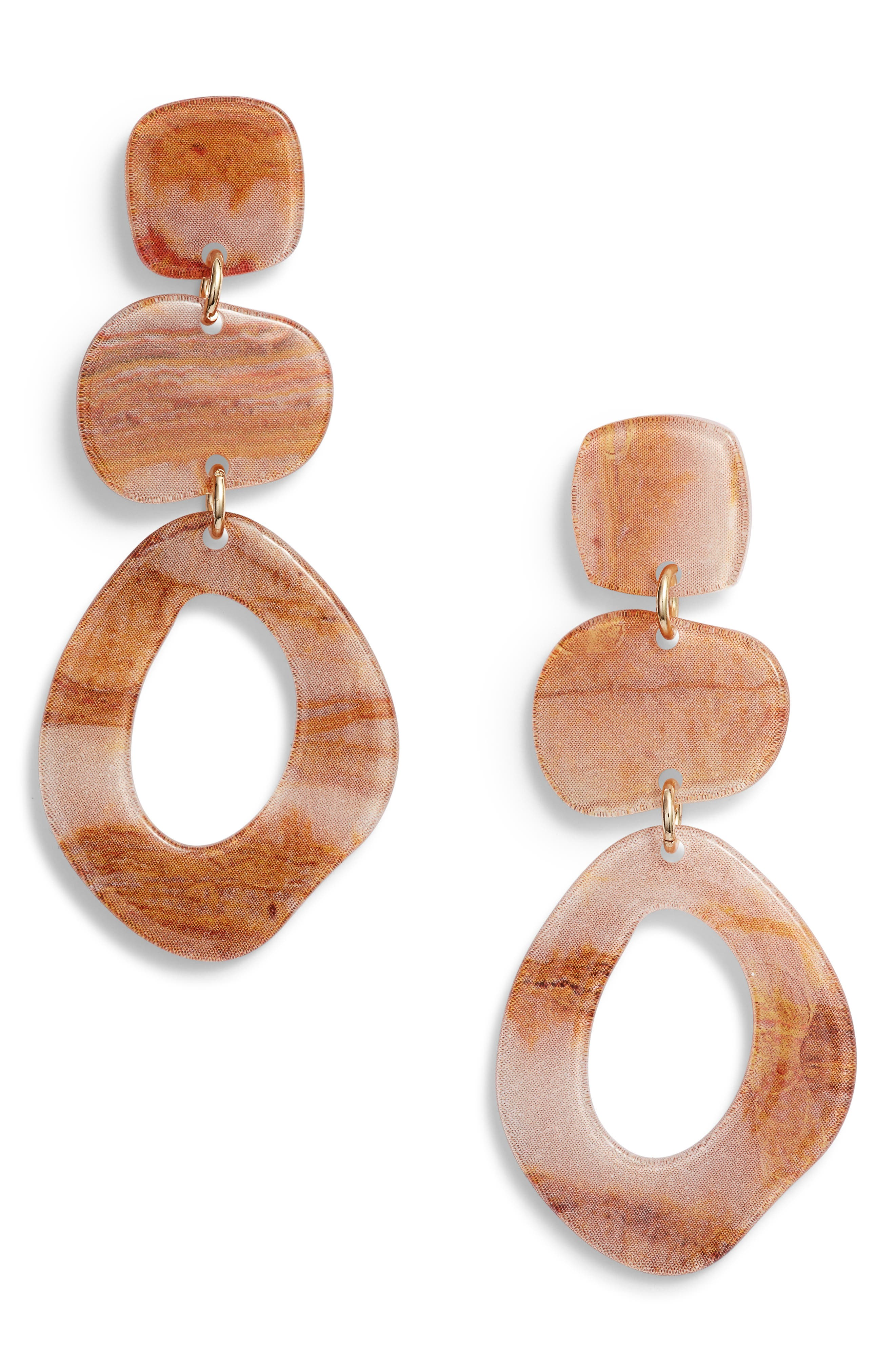 Hacked Classic Stacked Geo Drop Earrings,                             Main thumbnail 1, color,                             235