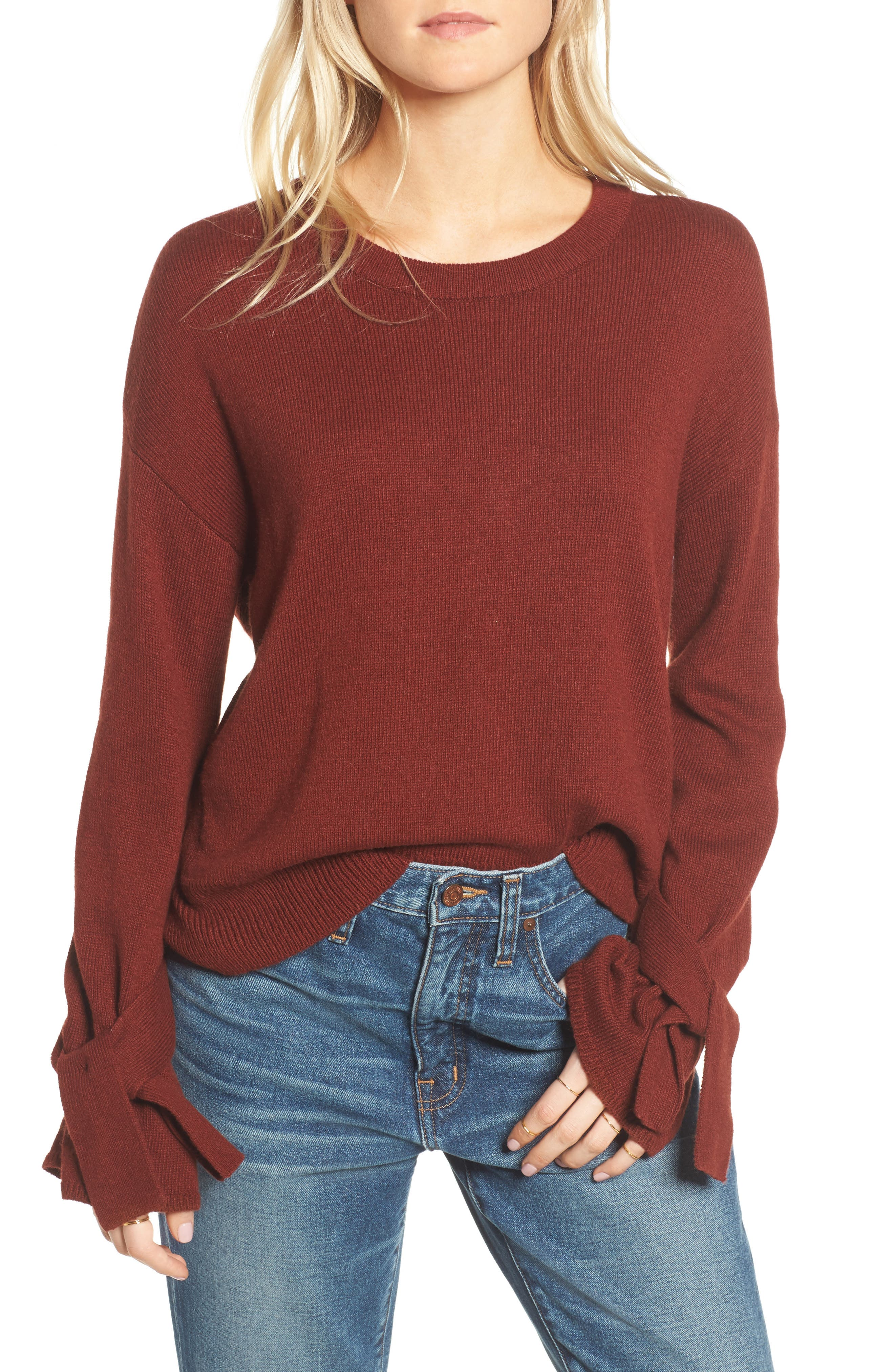 Tie Cuff Pullover Sweater,                             Main thumbnail 2, color,