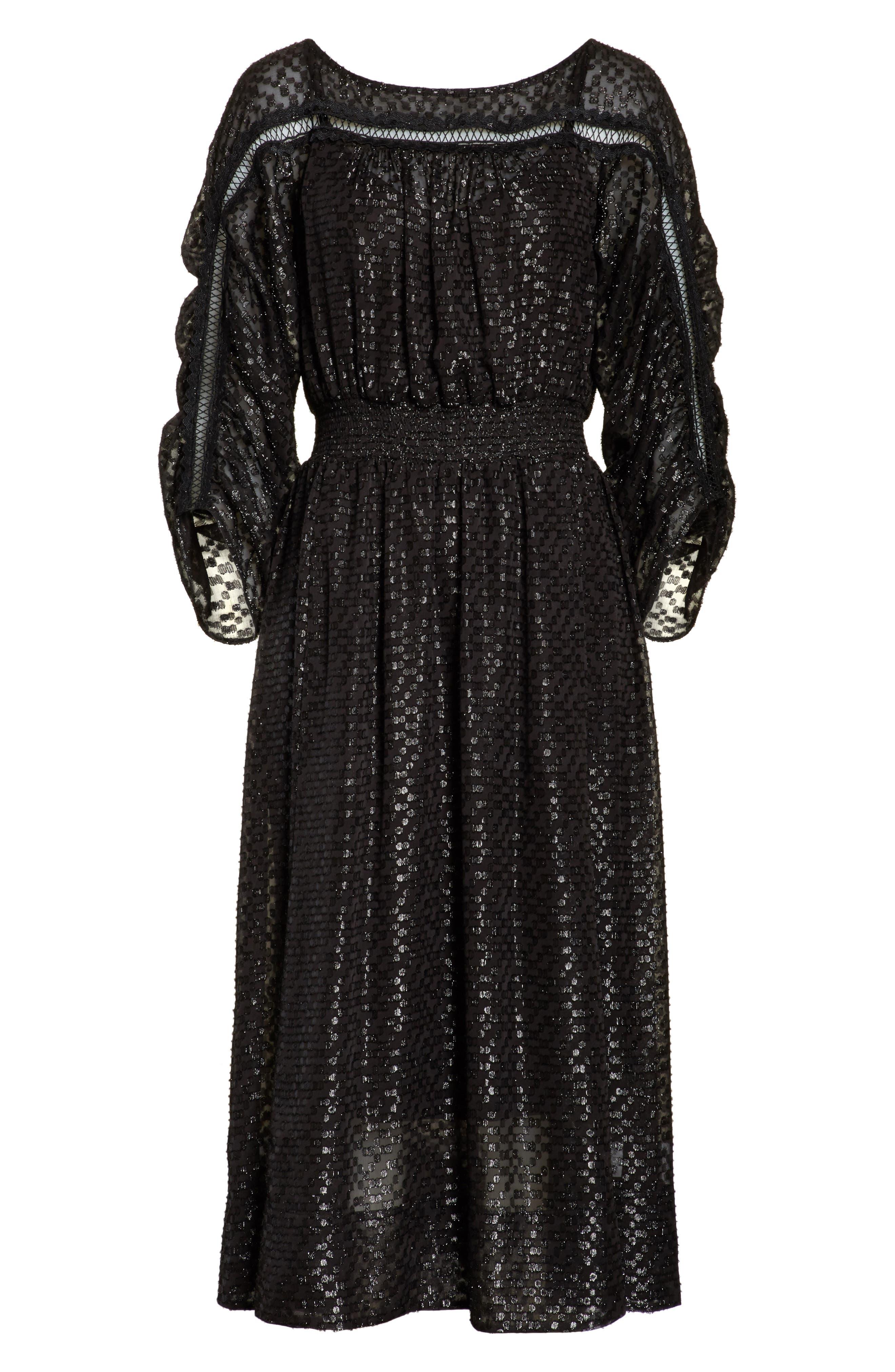 Long Sleeve Metallic Dot Midi Dress,                             Alternate thumbnail 6, color,                             001