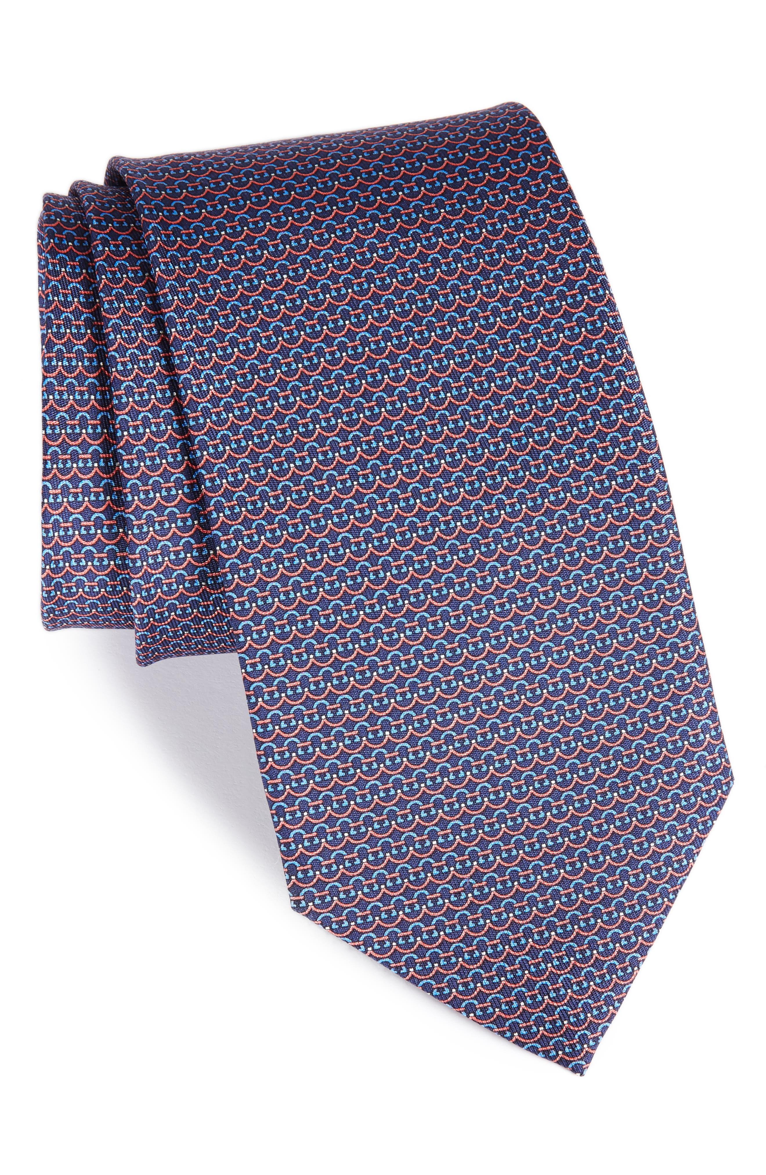 Gancini Silk Tie,                         Main,                         color, 420
