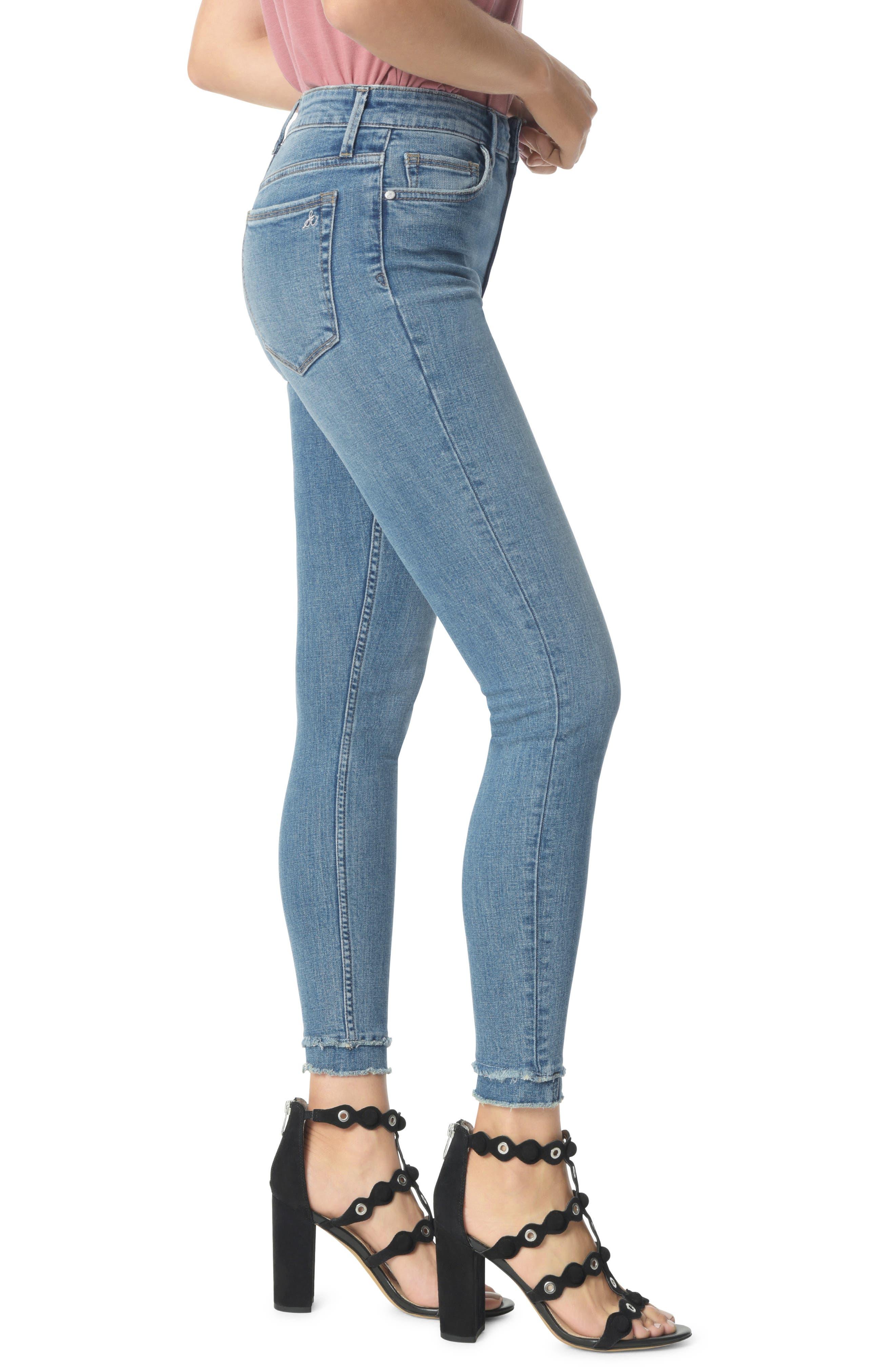 The Stiletto High Waist Double Hem Ankle Skinny Jeans,                             Alternate thumbnail 3, color,                             MARKIE