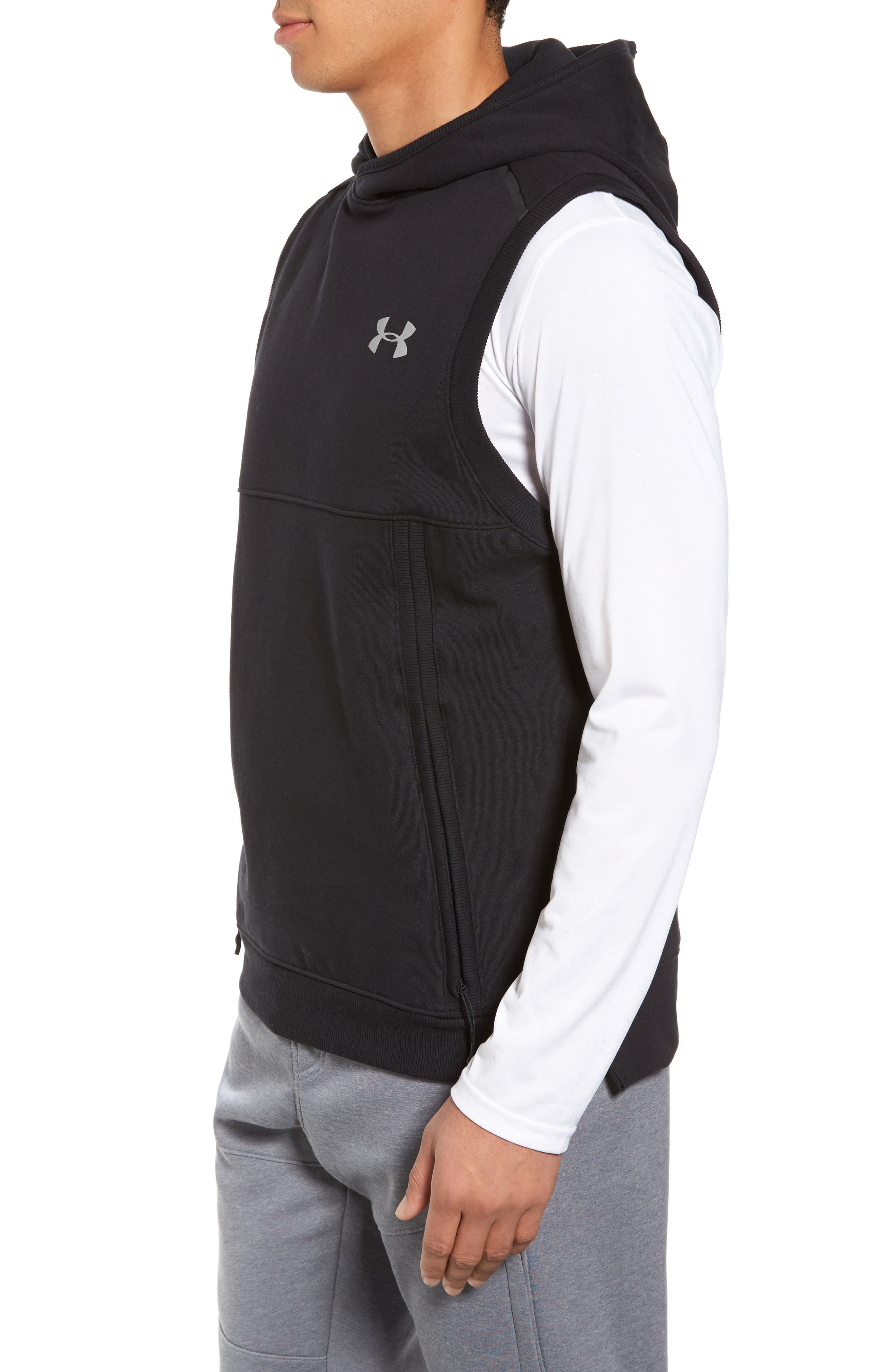 Threadborne Hooded Vest,                             Alternate thumbnail 3, color,                             001