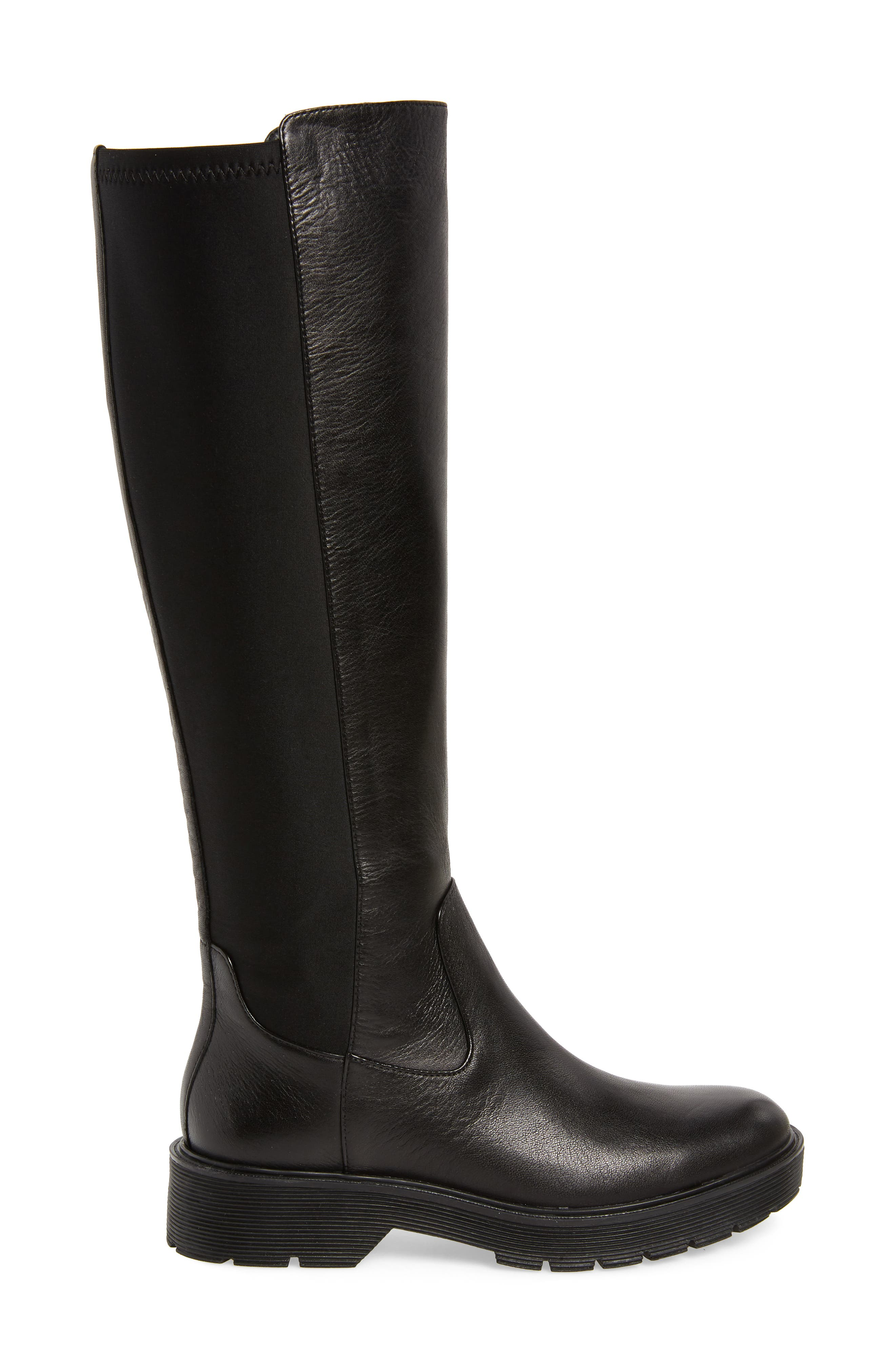 CALVIN KLEIN,                             Themis Knee High Riding Boot,                             Alternate thumbnail 3, color,                             BLACK LEATHER
