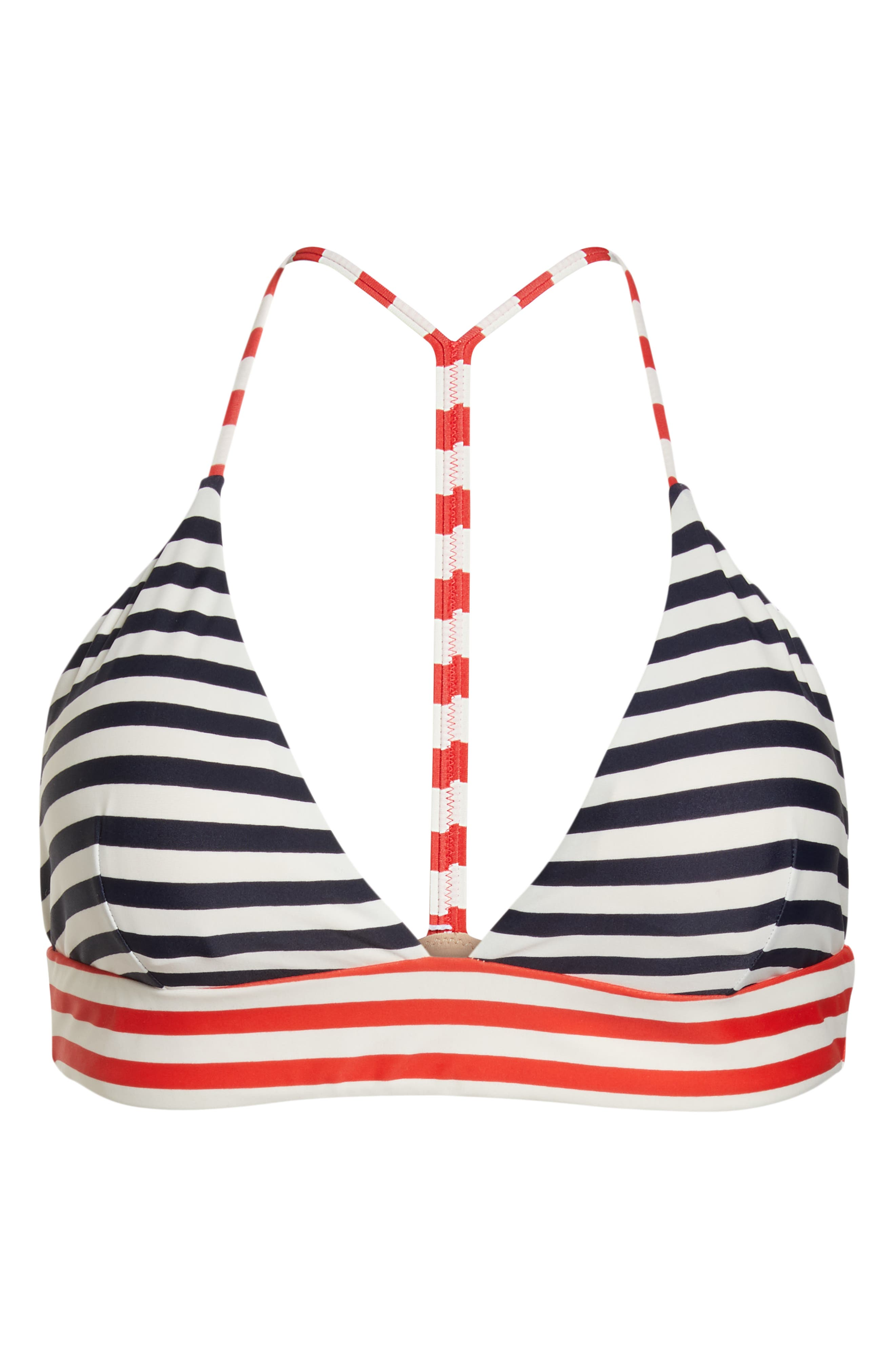 Stripe Banded T-Back Bikini Top,                             Alternate thumbnail 8, color,                             NAVY VIVID FLAME