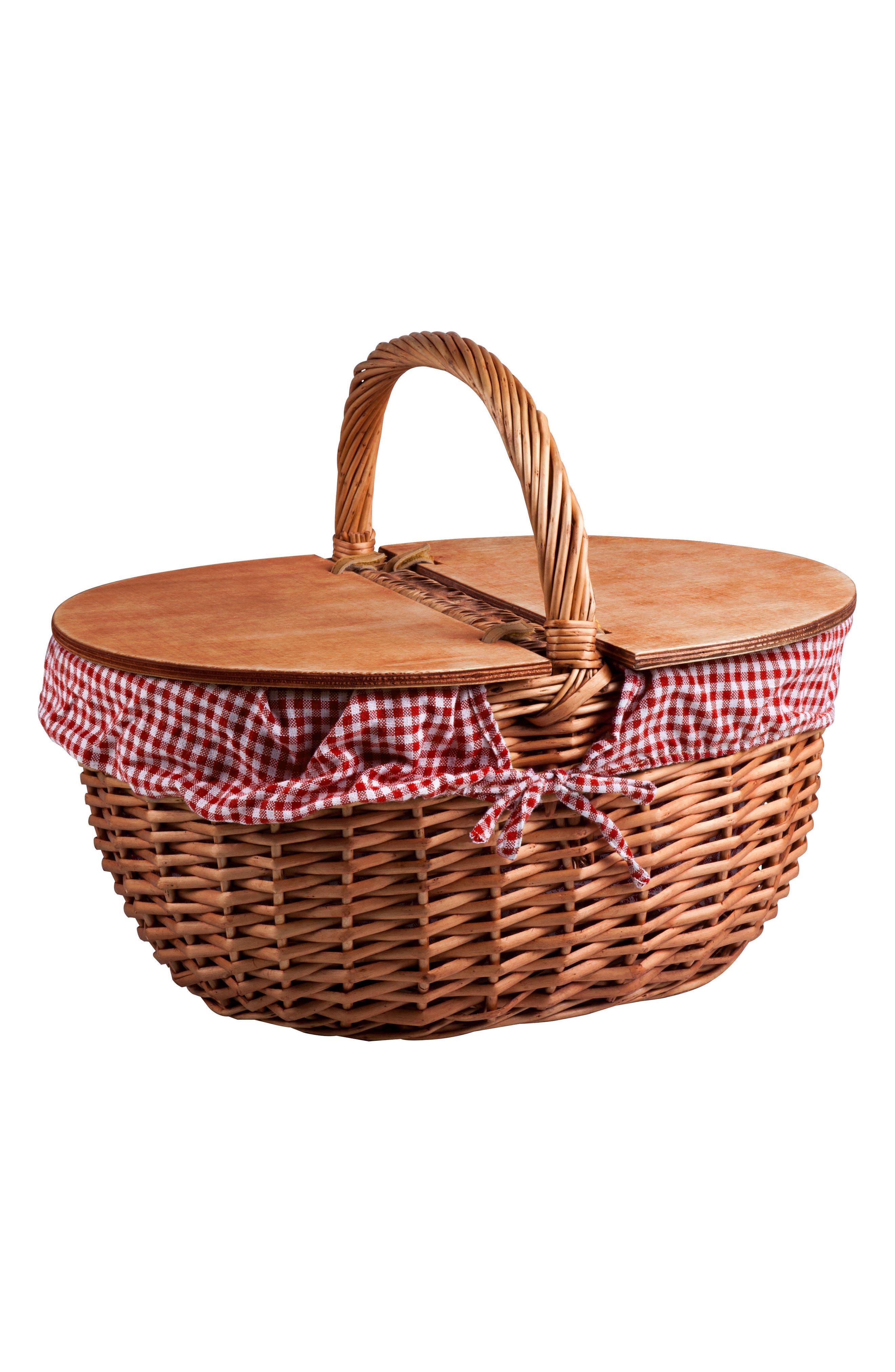 Country Wicker Picnic Basket,                             Main thumbnail 1, color,                             200