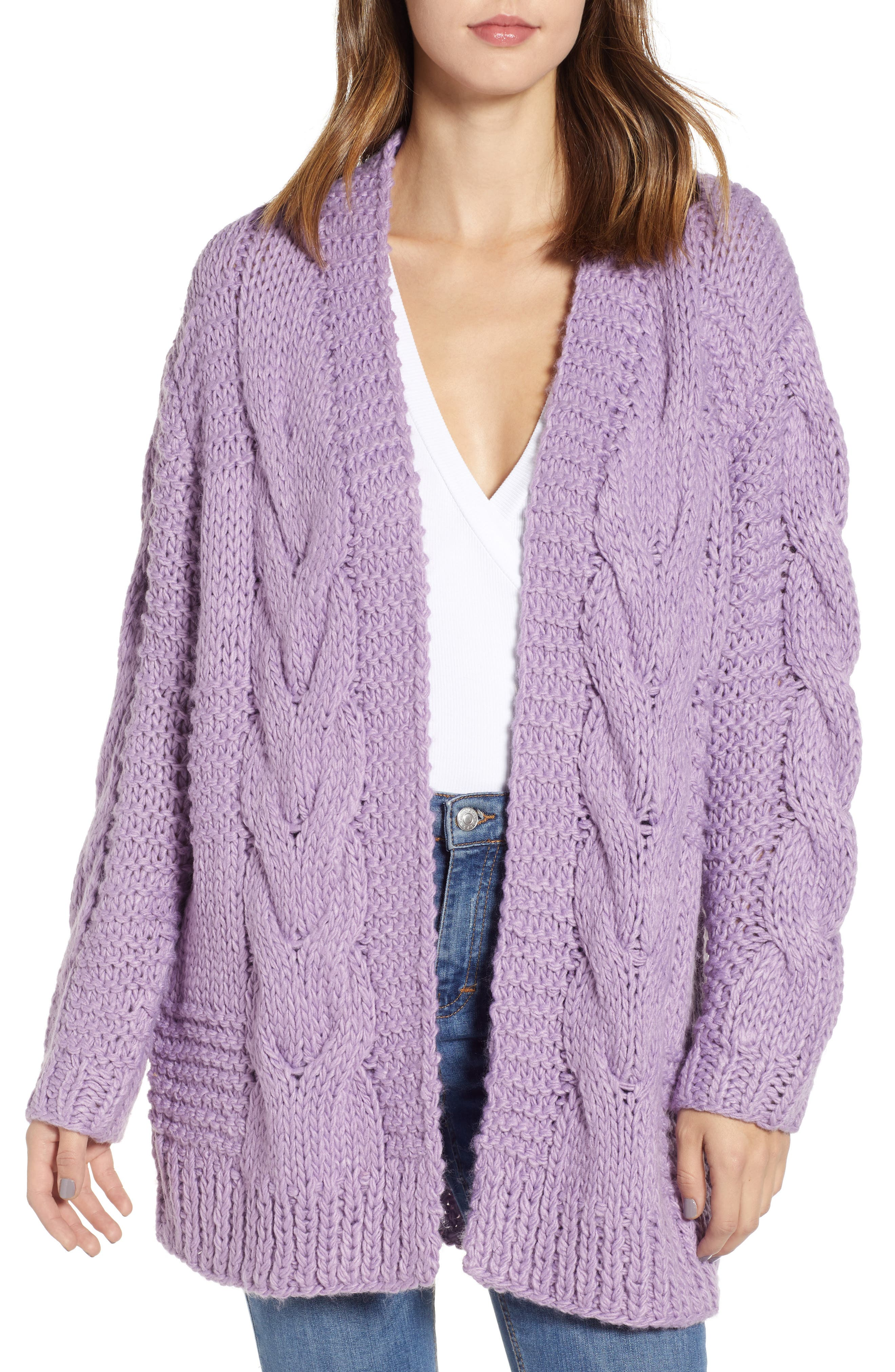 Cable Knit Oversized Cardigan, Main, color, 500