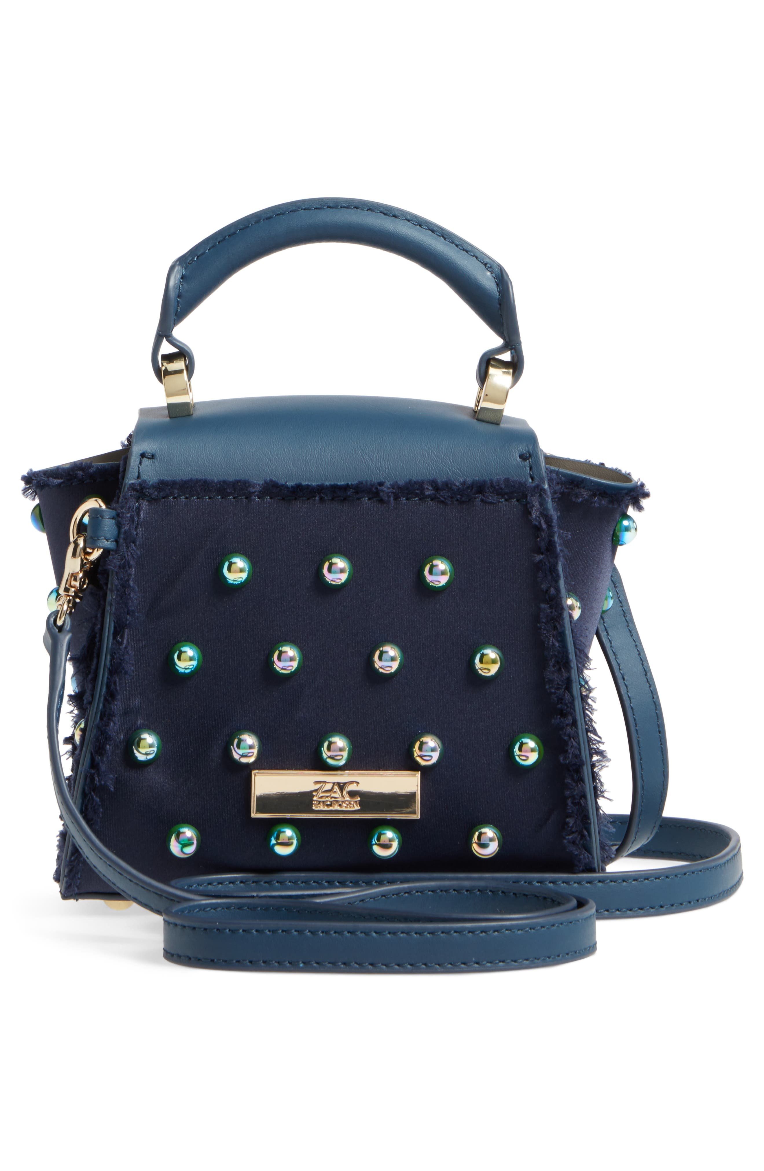 Mini Eartha Embellished Top Handle Calfskin Leather Satchel,                             Alternate thumbnail 3, color,                             403
