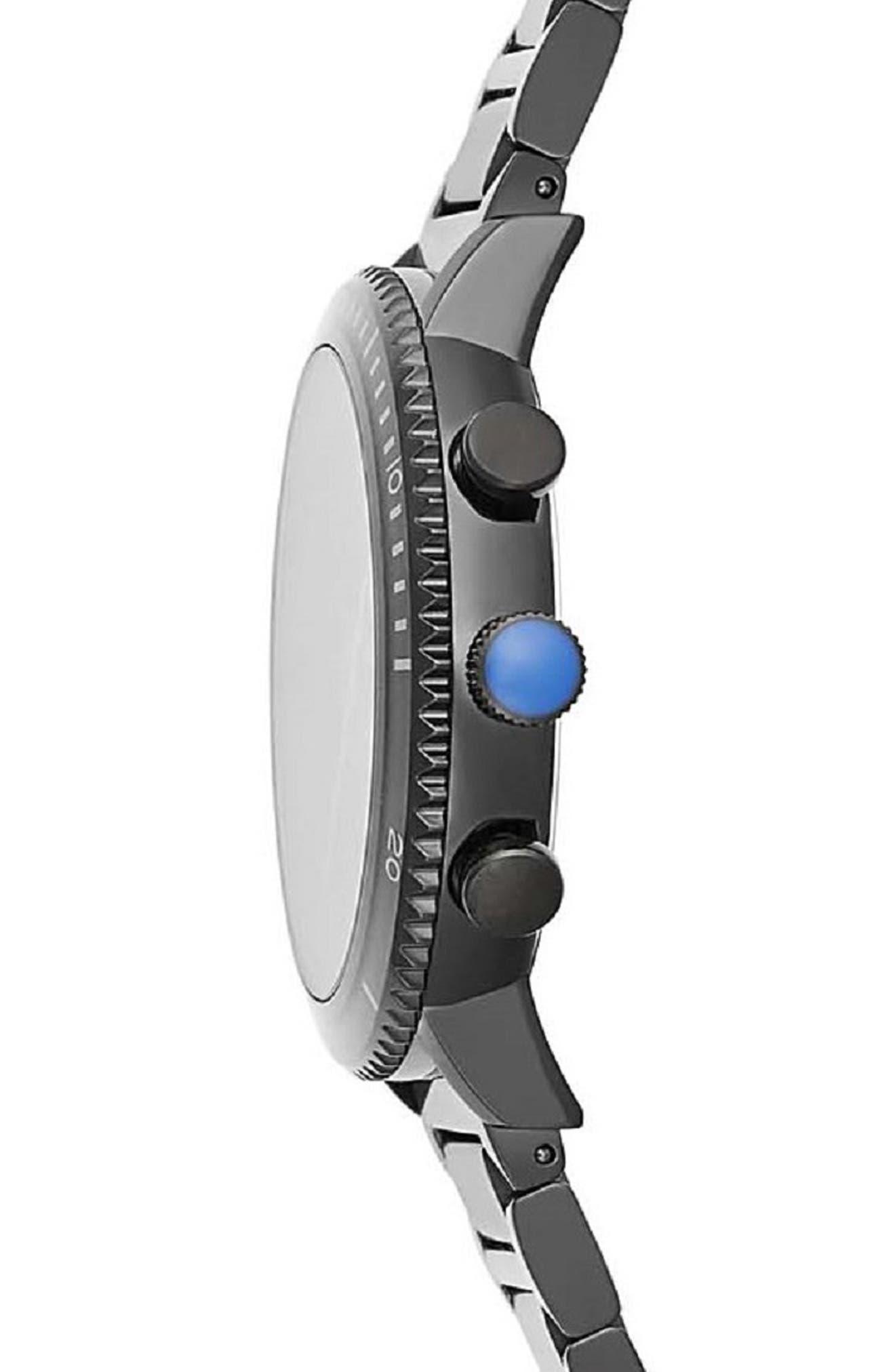 Griffith Chronograph Bracelet Watch, 43mm,                             Alternate thumbnail 3, color,                             BLACK