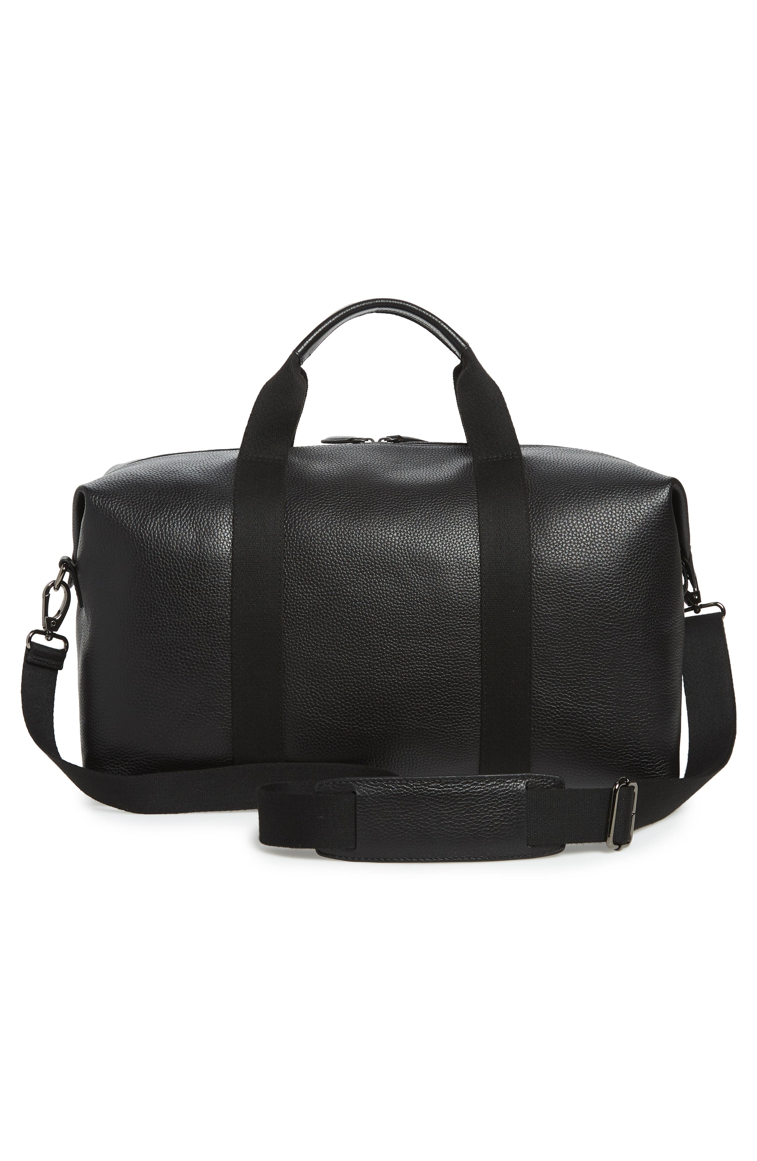 Holding Leather Duffel Bag,                             Alternate thumbnail 3, color,                             BLACK
