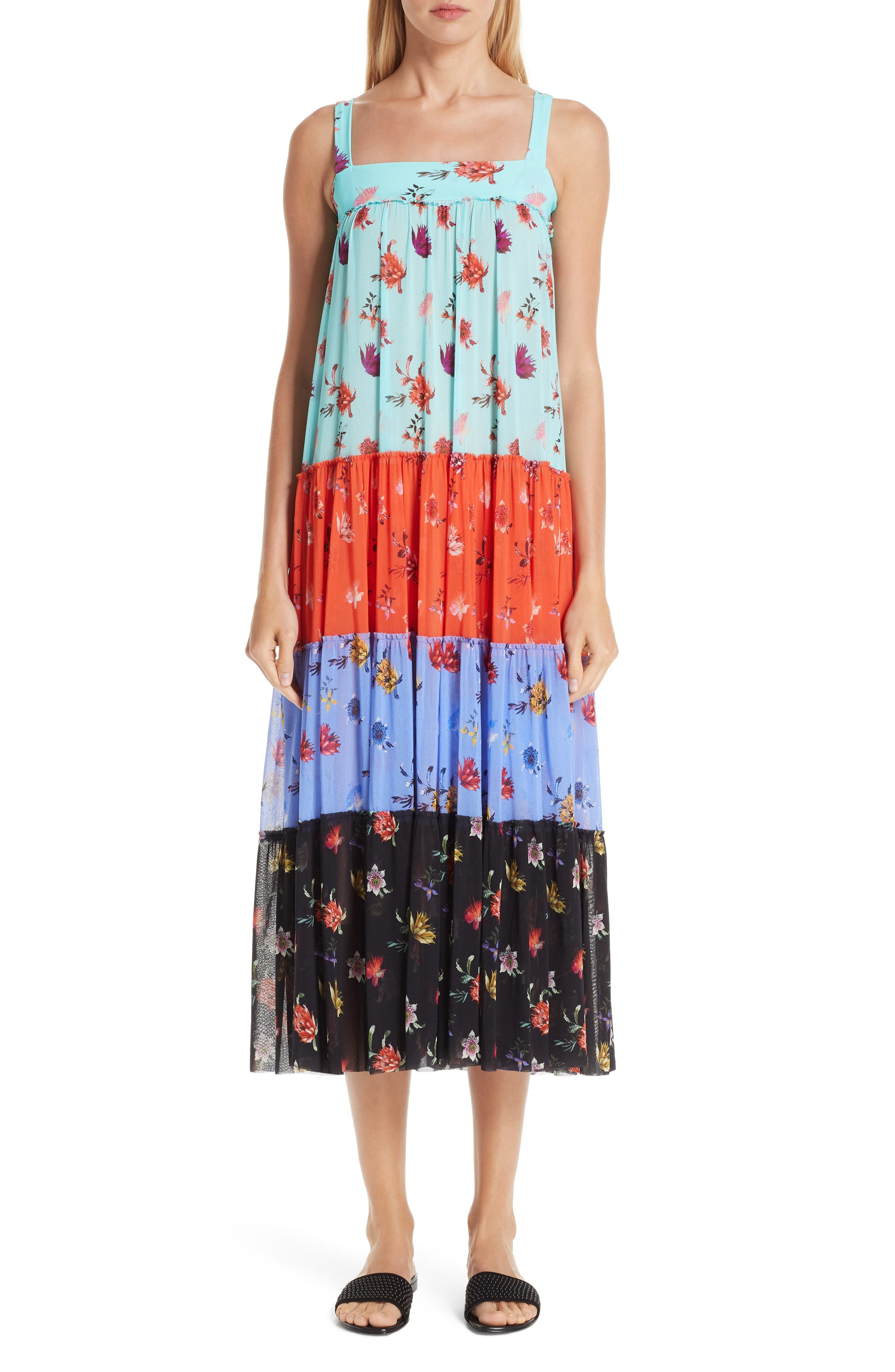 Fuzzi Tiered Patchwork Midi Dress, Blue