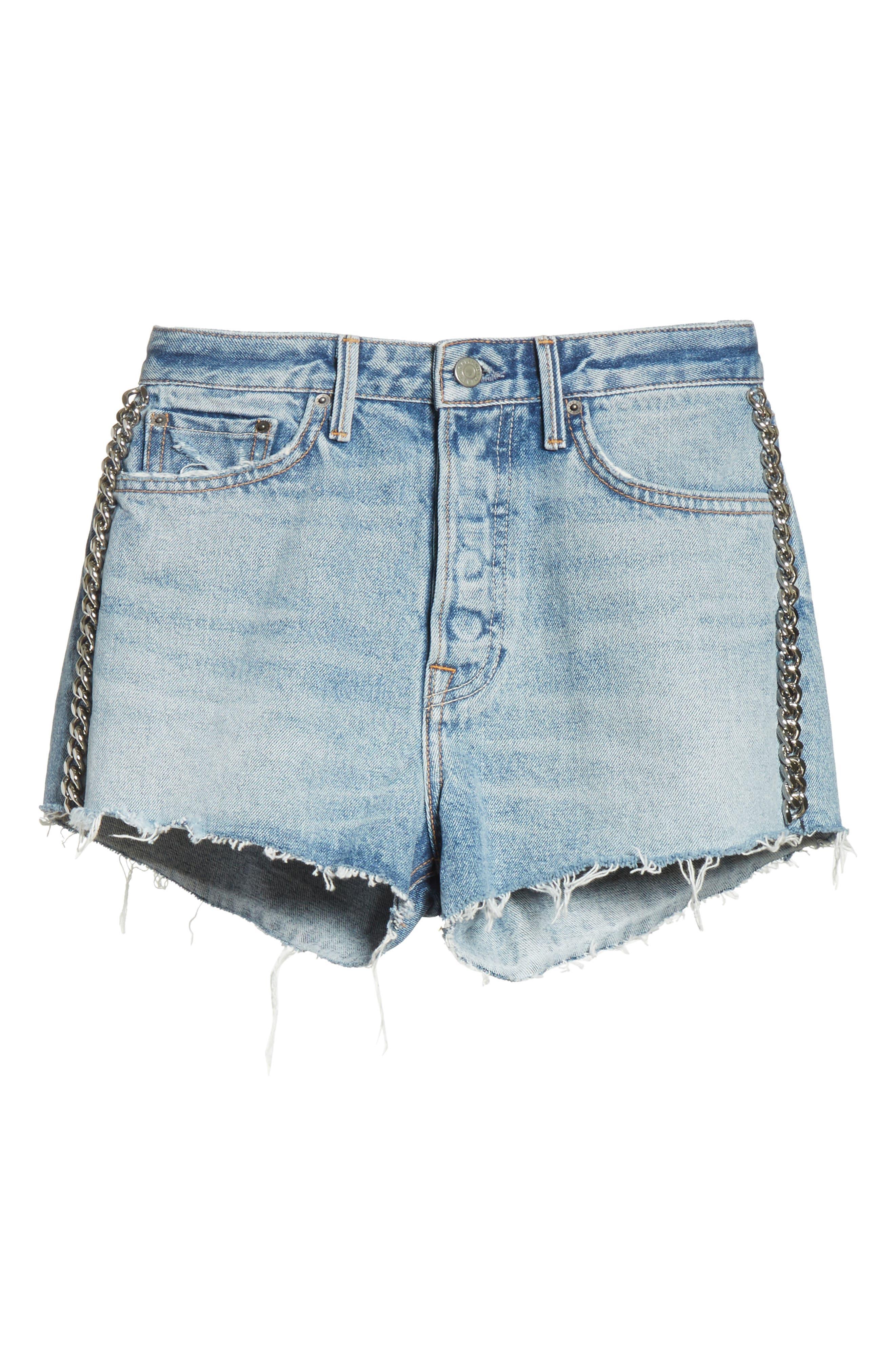 Cindy Rigid High Waist Denim Shorts,                             Alternate thumbnail 6, color,                             484