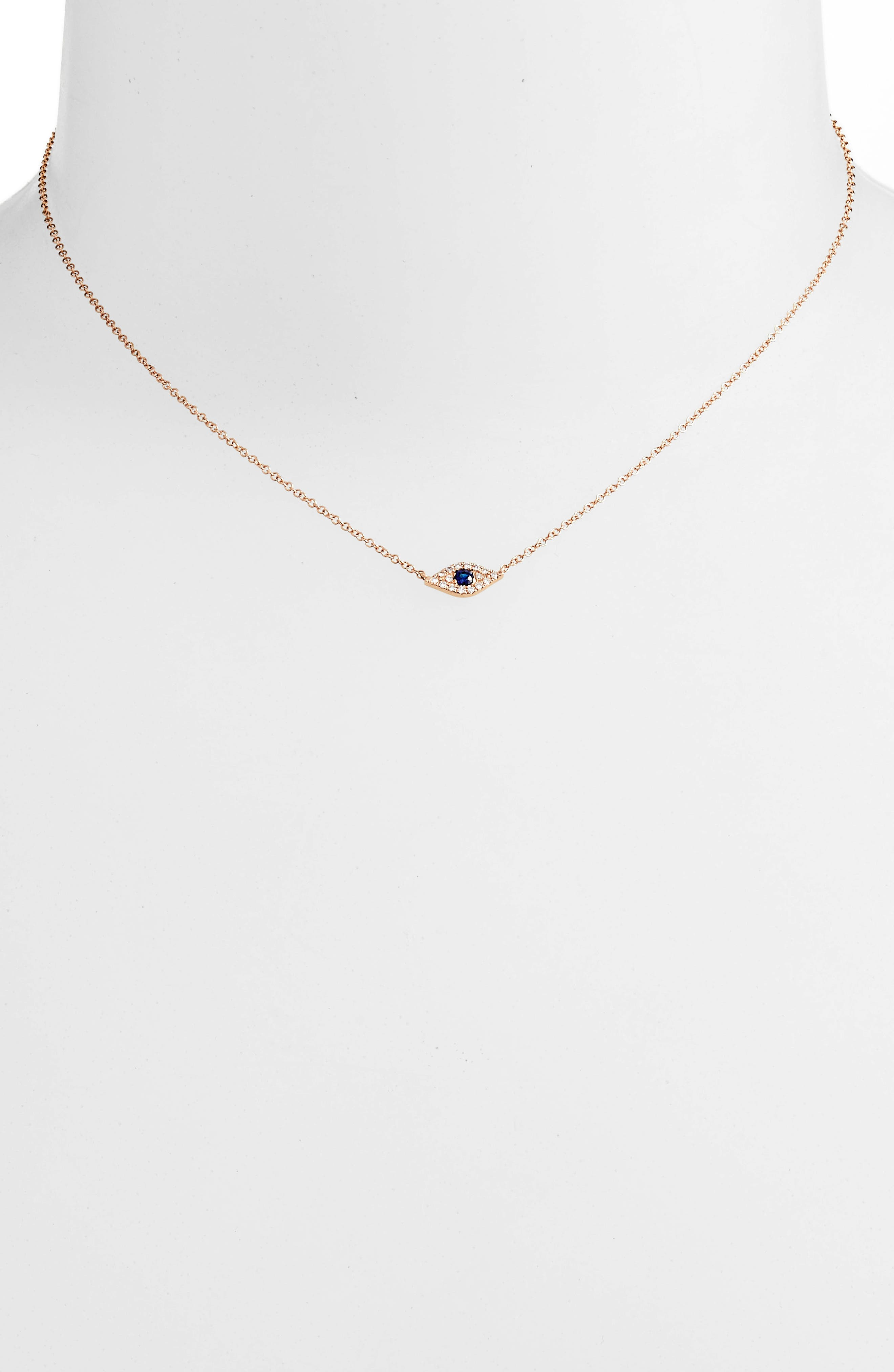 Evil Eye Diamond & Sapphire Pendant Necklace,                             Alternate thumbnail 2, color,                             ROSE GOLD