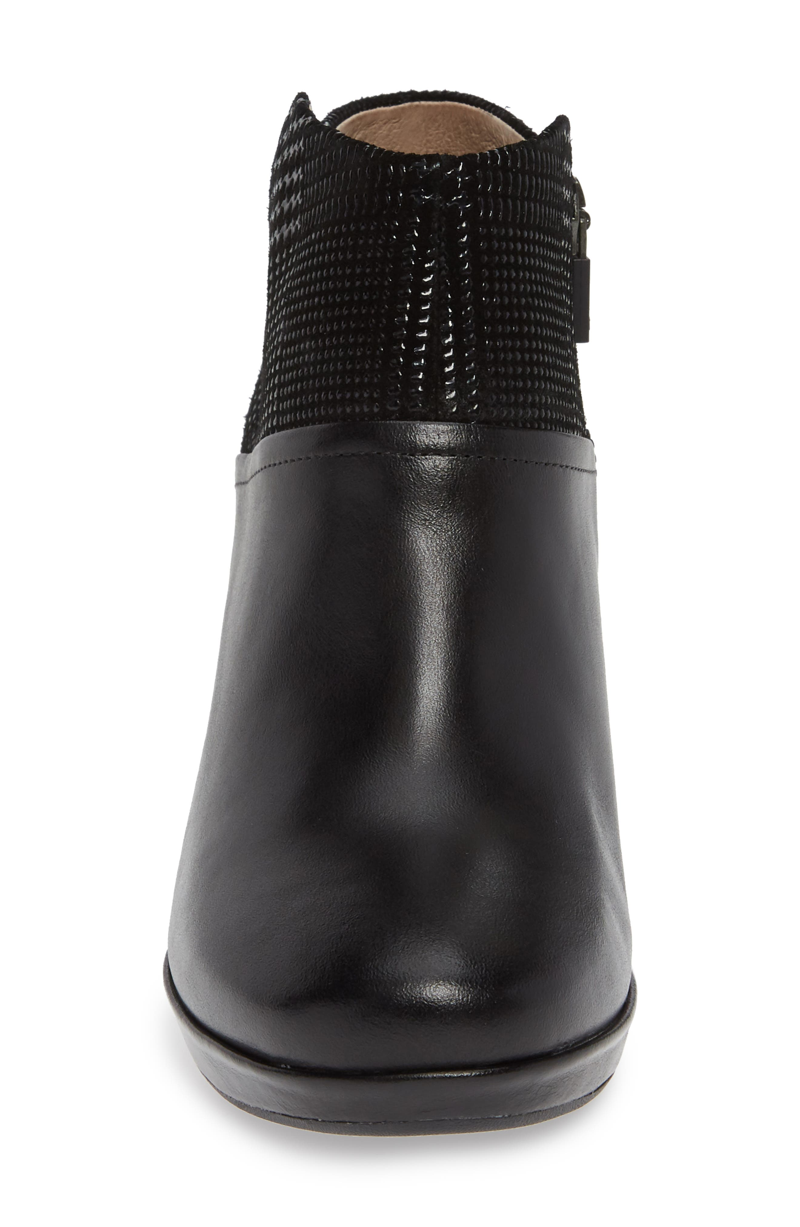 Miley Burnished Leather Bootie,                             Alternate thumbnail 4, color,                             BLACK BURNISHED LEATHER