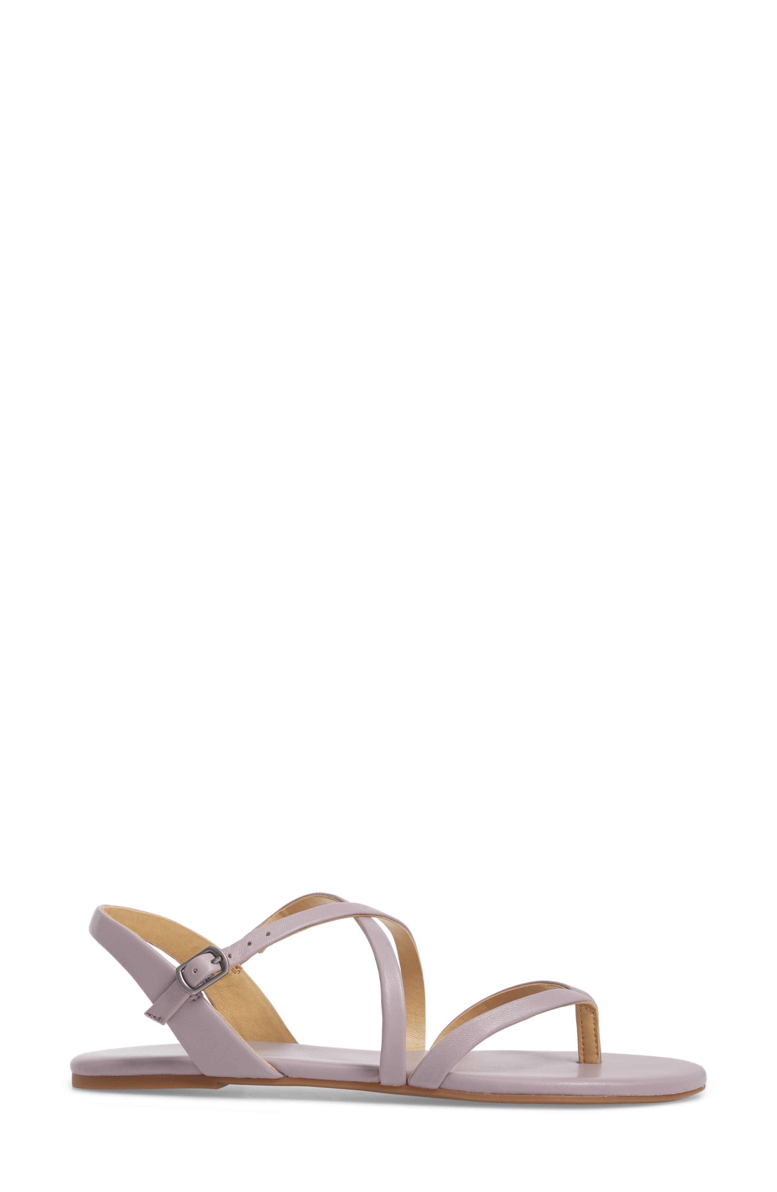 Brett Strappy Flat Sandal,                             Alternate thumbnail 3, color,                             WISTERIA LEATHER