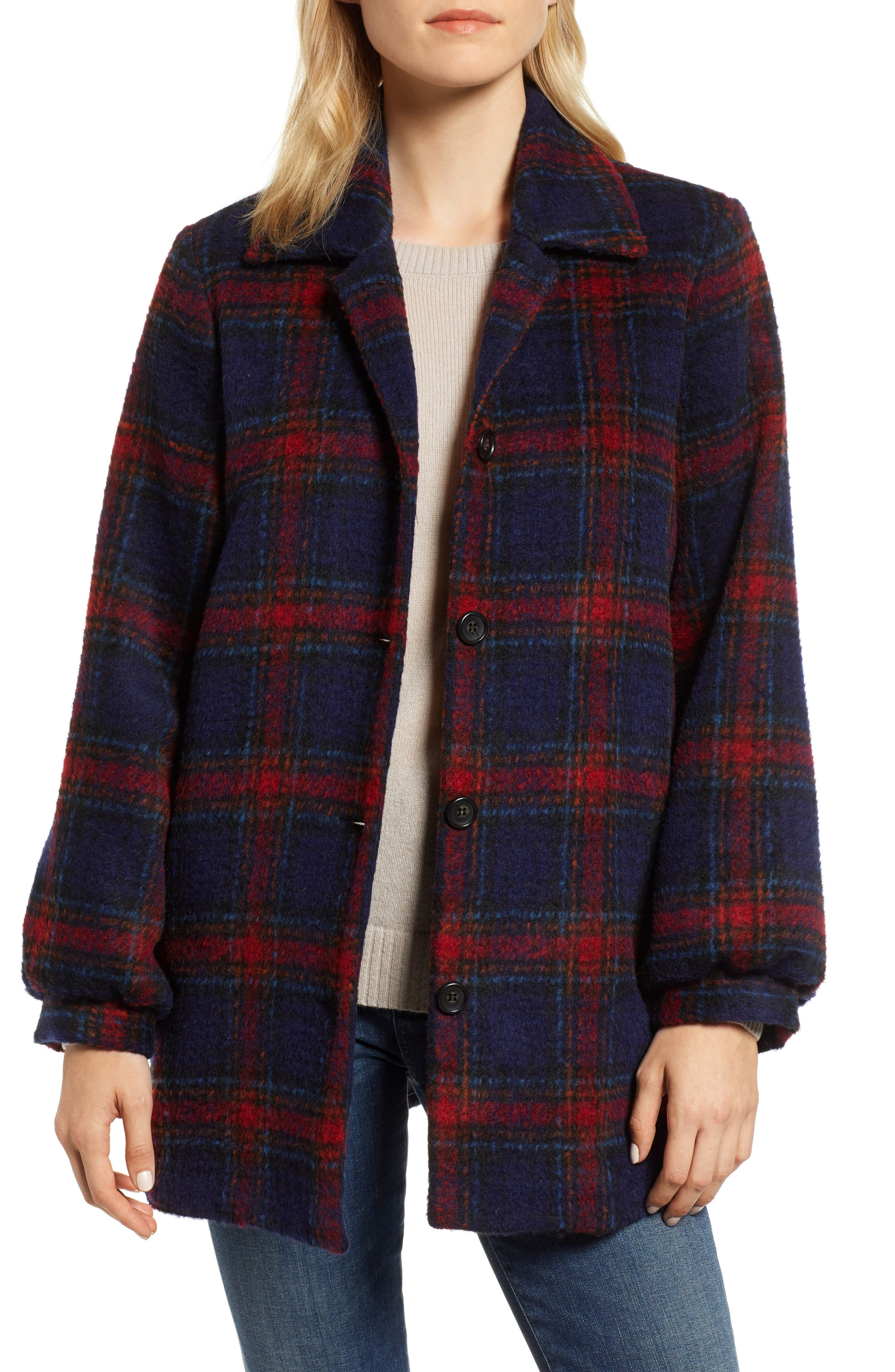 Plaid Wool Blend Jacket,                         Main,                         color, MULTI