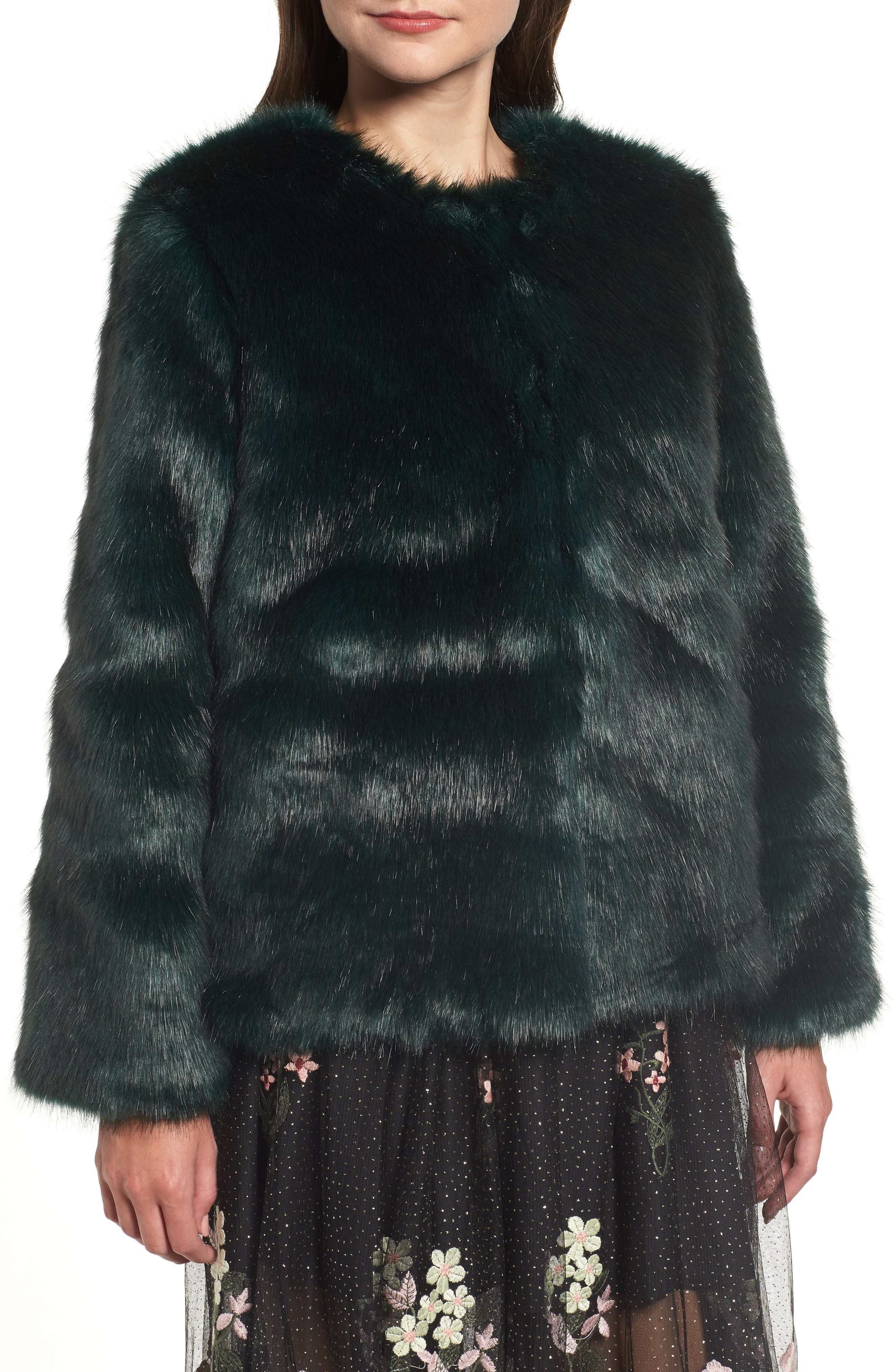 Faux Fur Jacket,                             Alternate thumbnail 4, color,                             GREEN