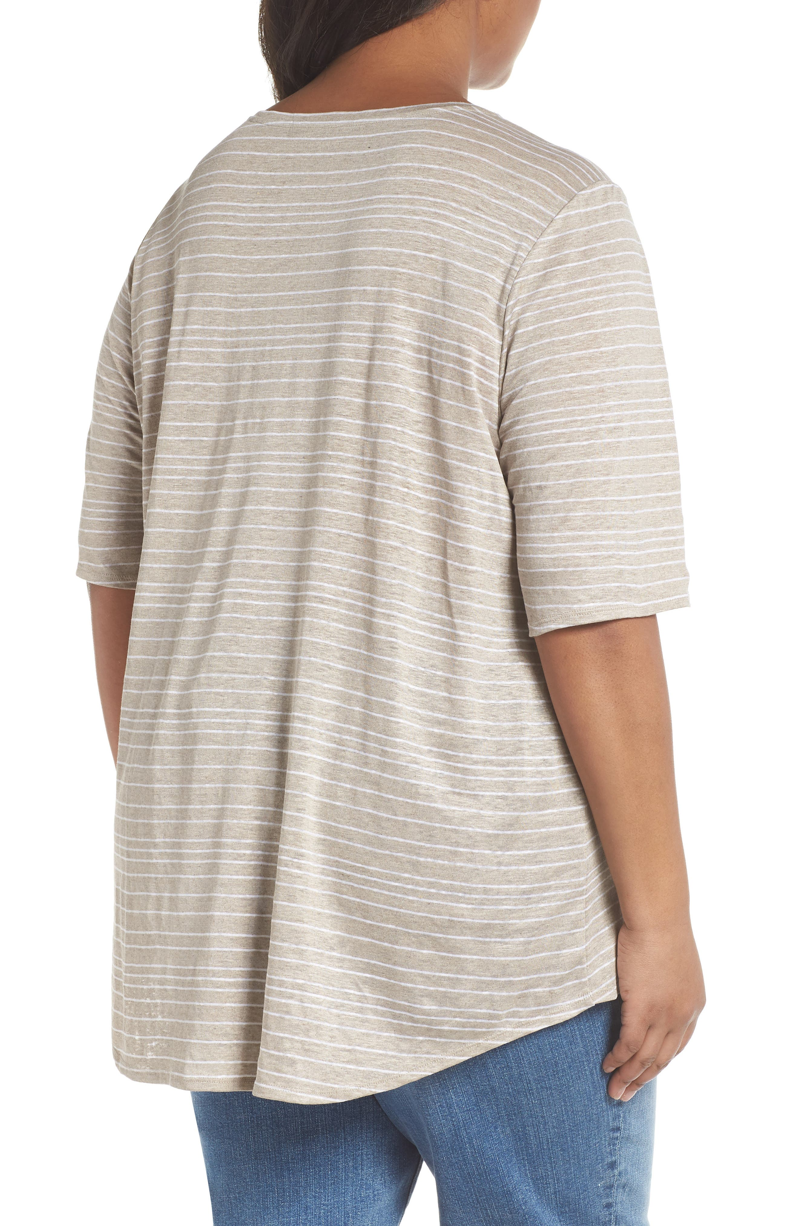 Stripe Organic Linen Top,                             Alternate thumbnail 4, color,